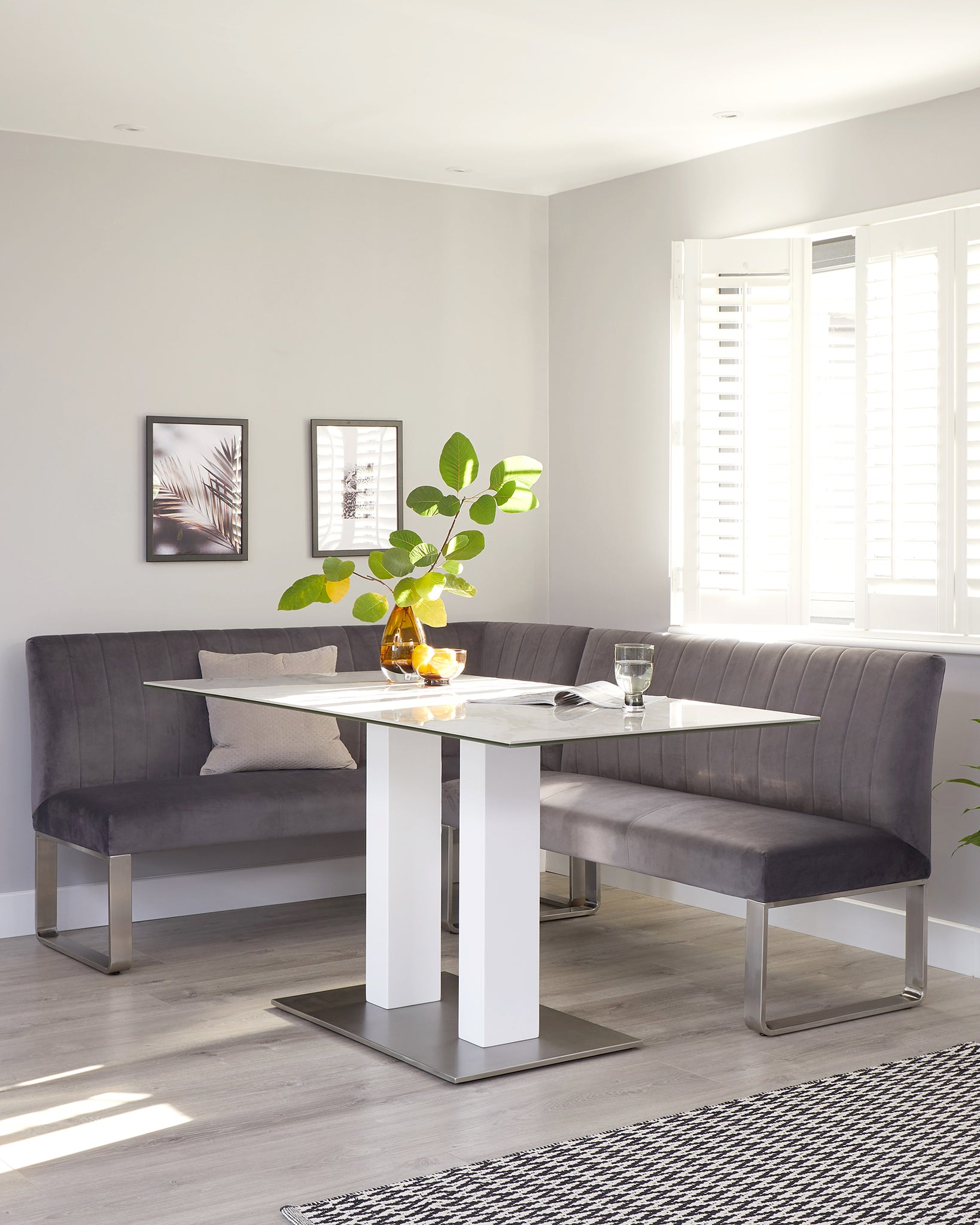 Mia 6 Seater White Ceramic Marble Dining Table