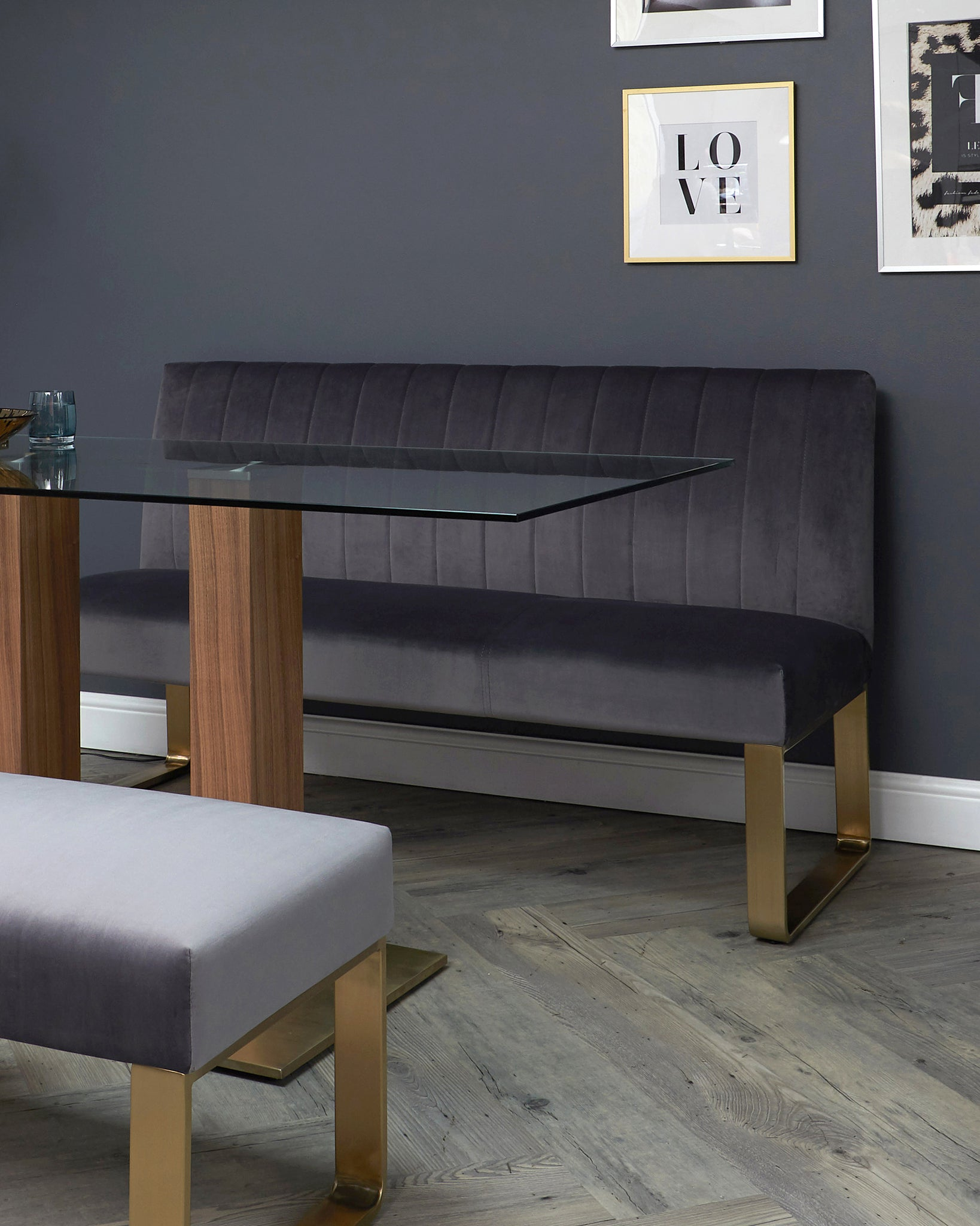 Ophelia 3 Seater Dark Grey Velvet With Brushed Brass Bench With Backrest