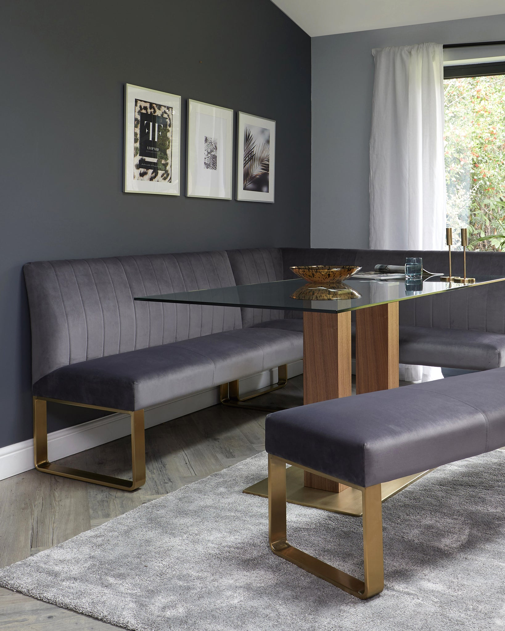 Mia Glass With Ophelia Corner Dining Bench Set