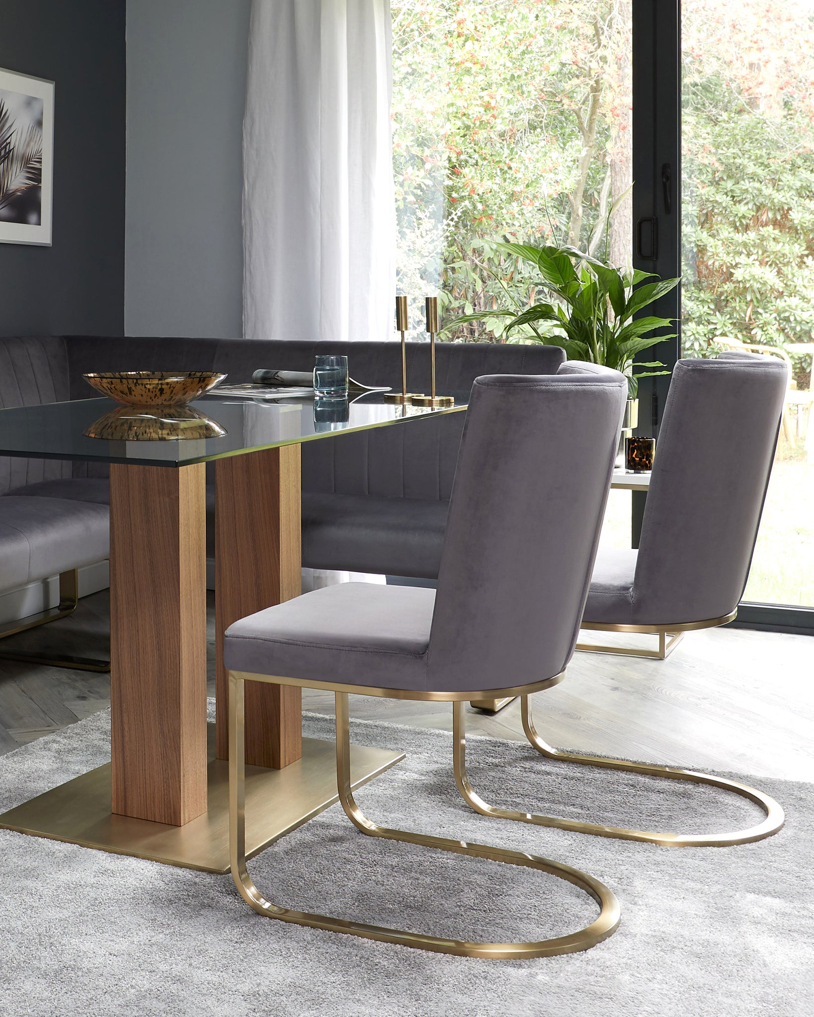 Form Dark Grey Velvet And Brass Cantilever Dining Chair - Set Of 2