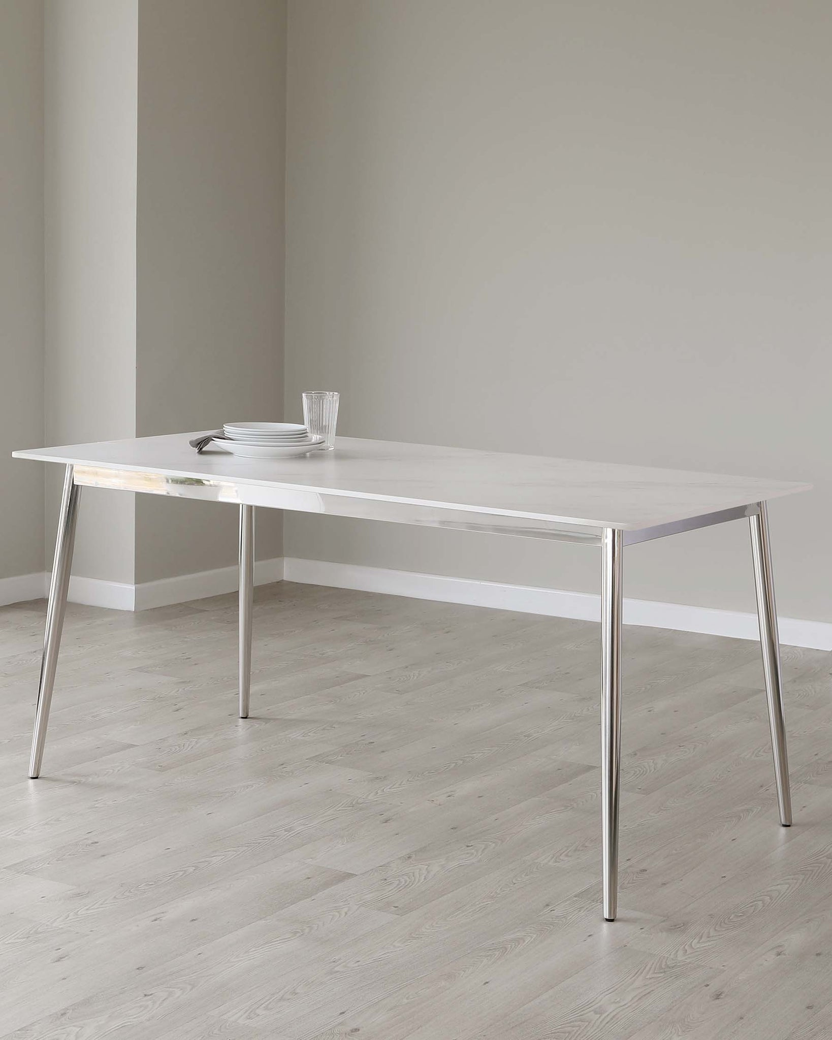 Oslo White Ceramic Marble Dining Table