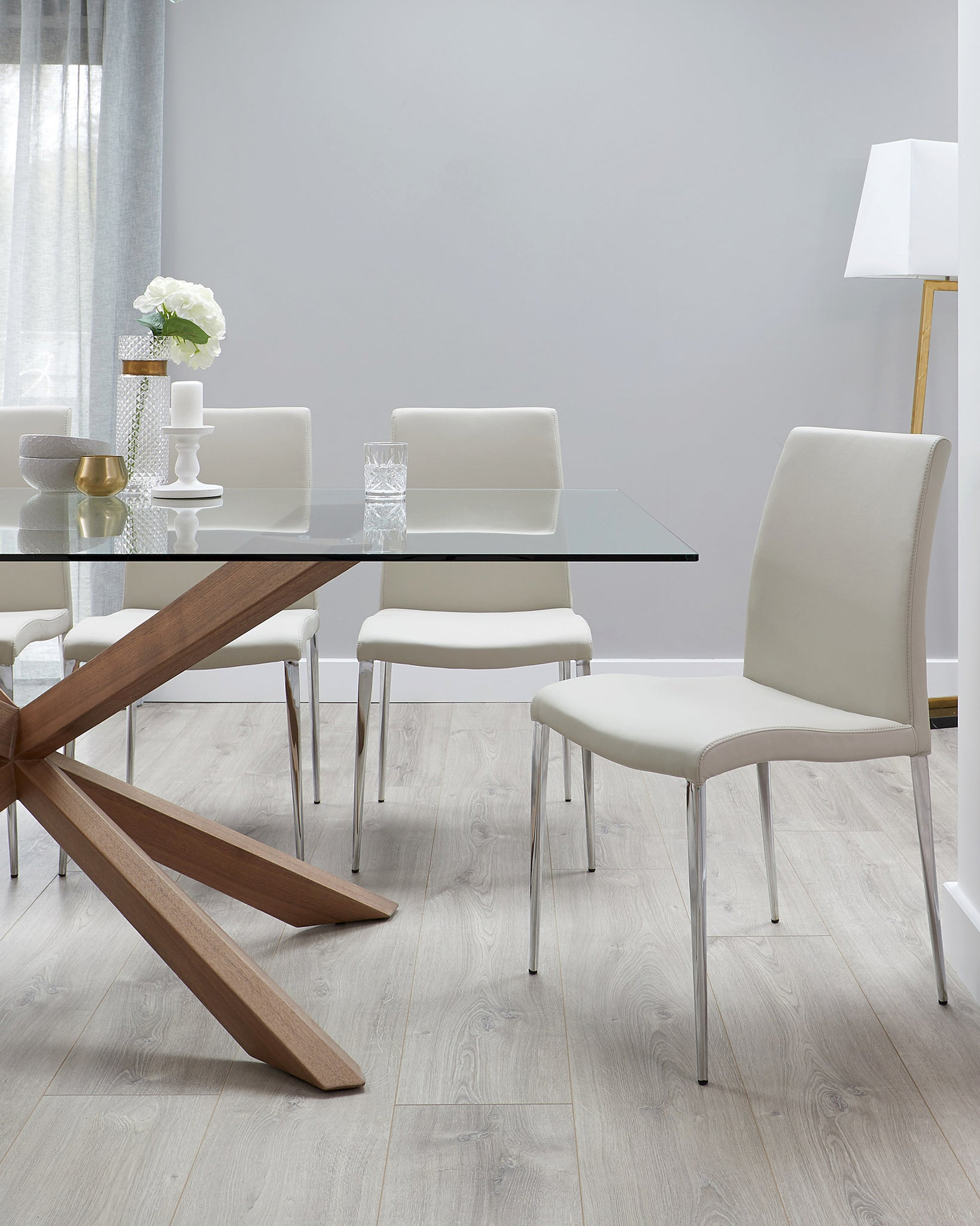 Otter Clear Glass And Walnut Dining Table
