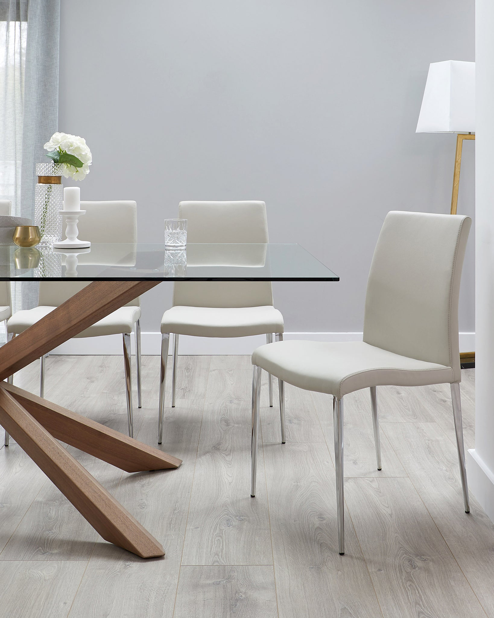 Otter Clear Glass And Walnut With Elise Dining Set