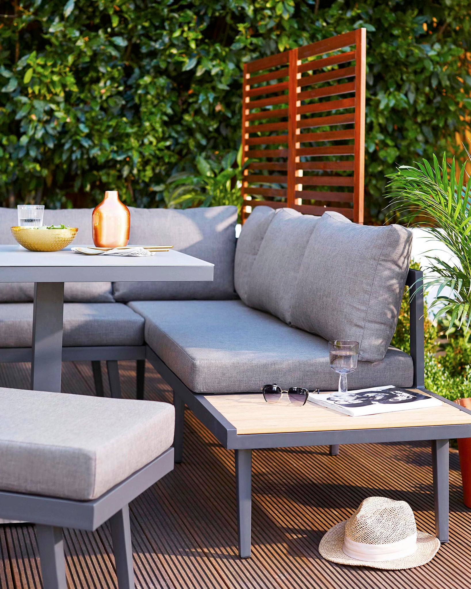 Palermo Grey Right Hand Corner Outdoor Dining Bench