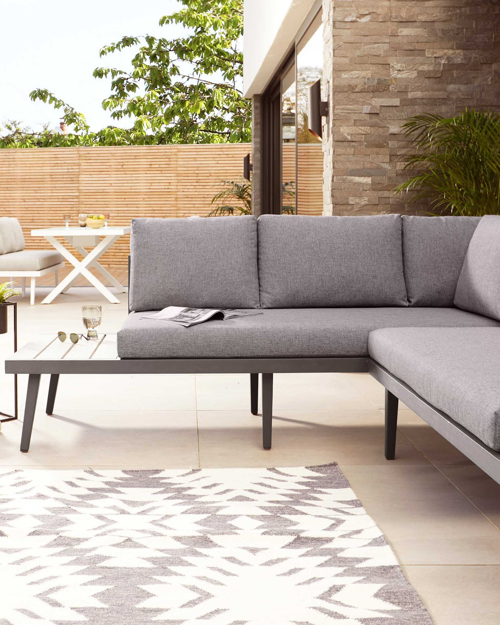 Palermo Grey Garden Bench Lounge Set