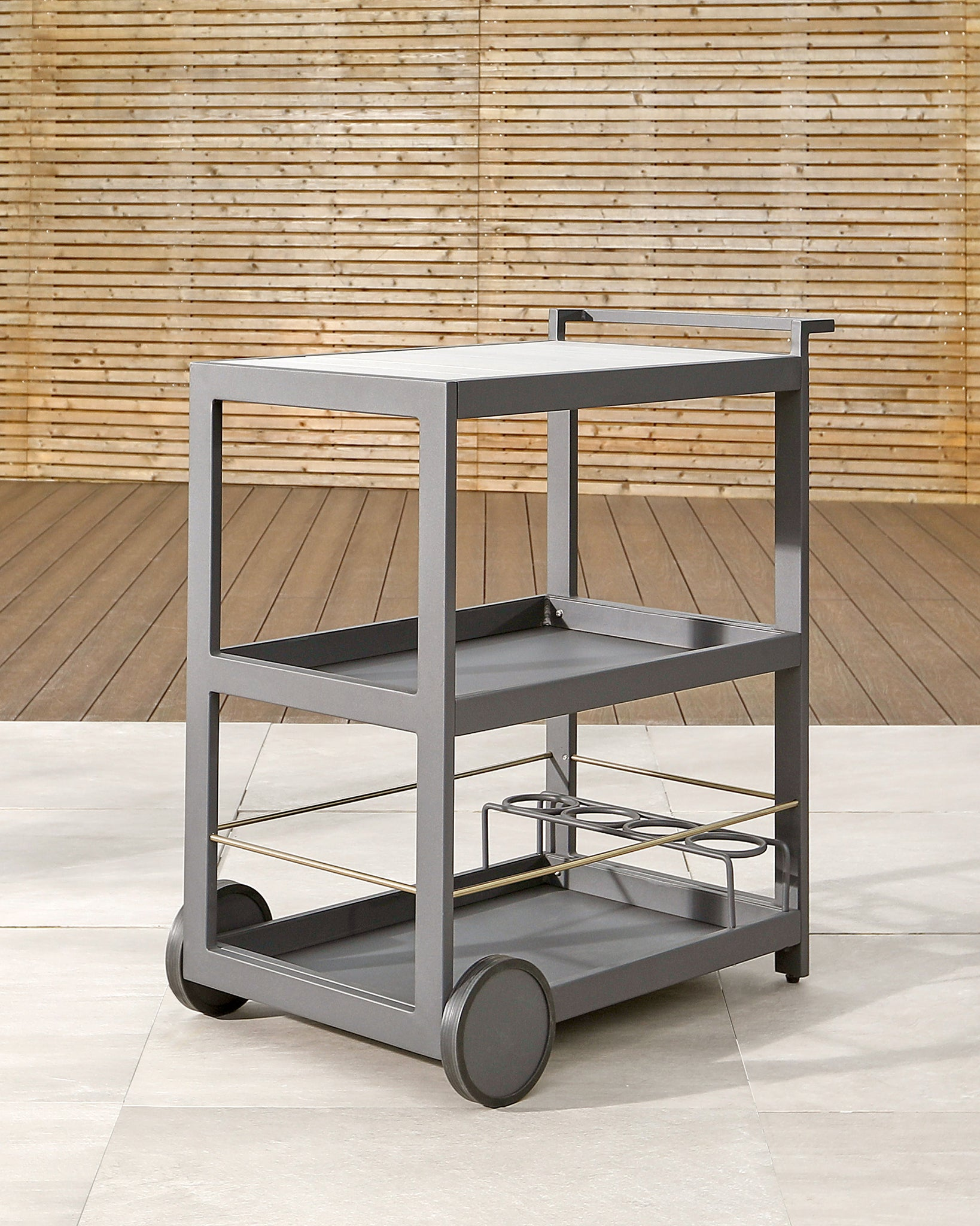 Palm Dark Grey Aluminium And Wood Garden Drinks Trolley