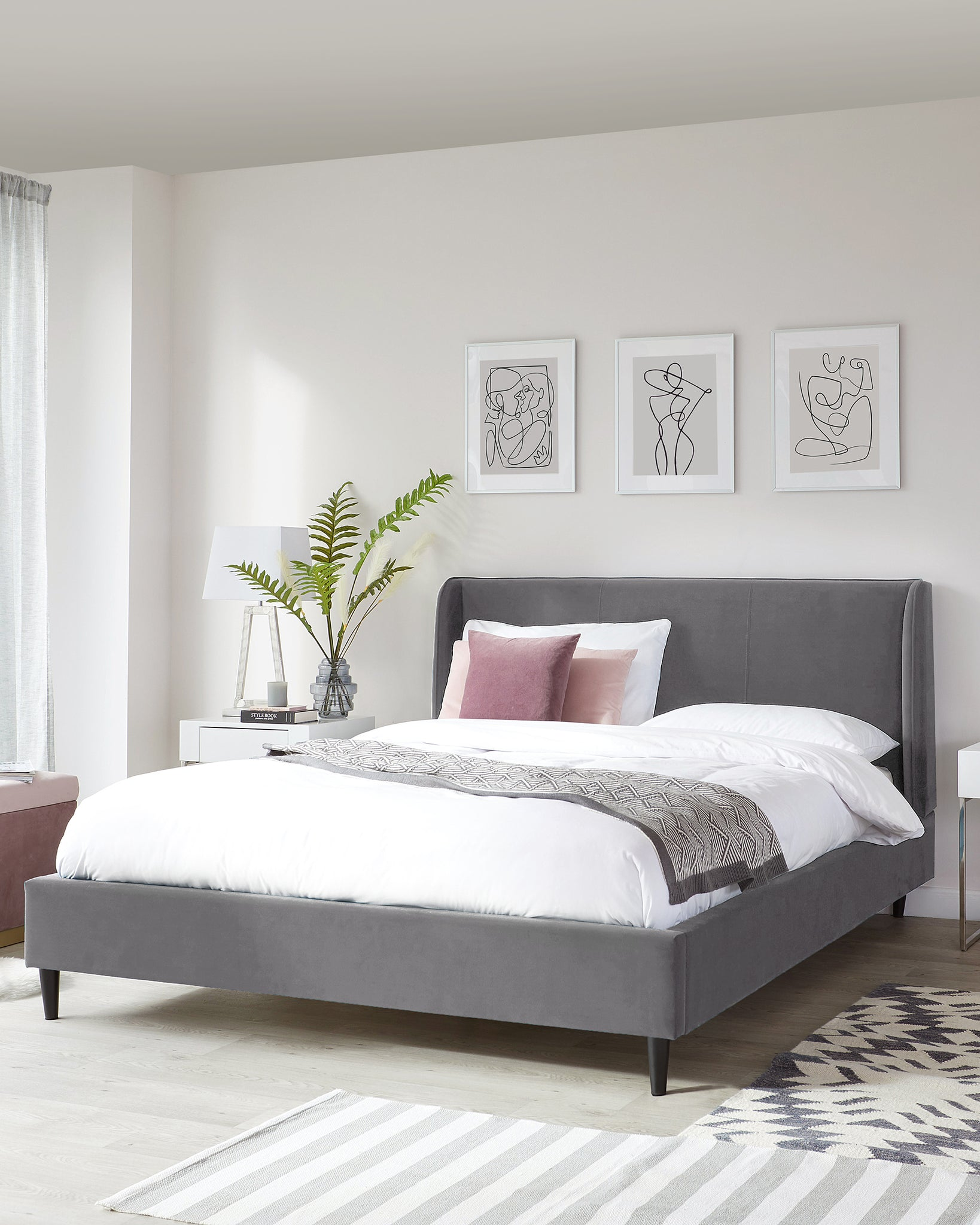 Paolo Grey Velvet Super King Size Bed