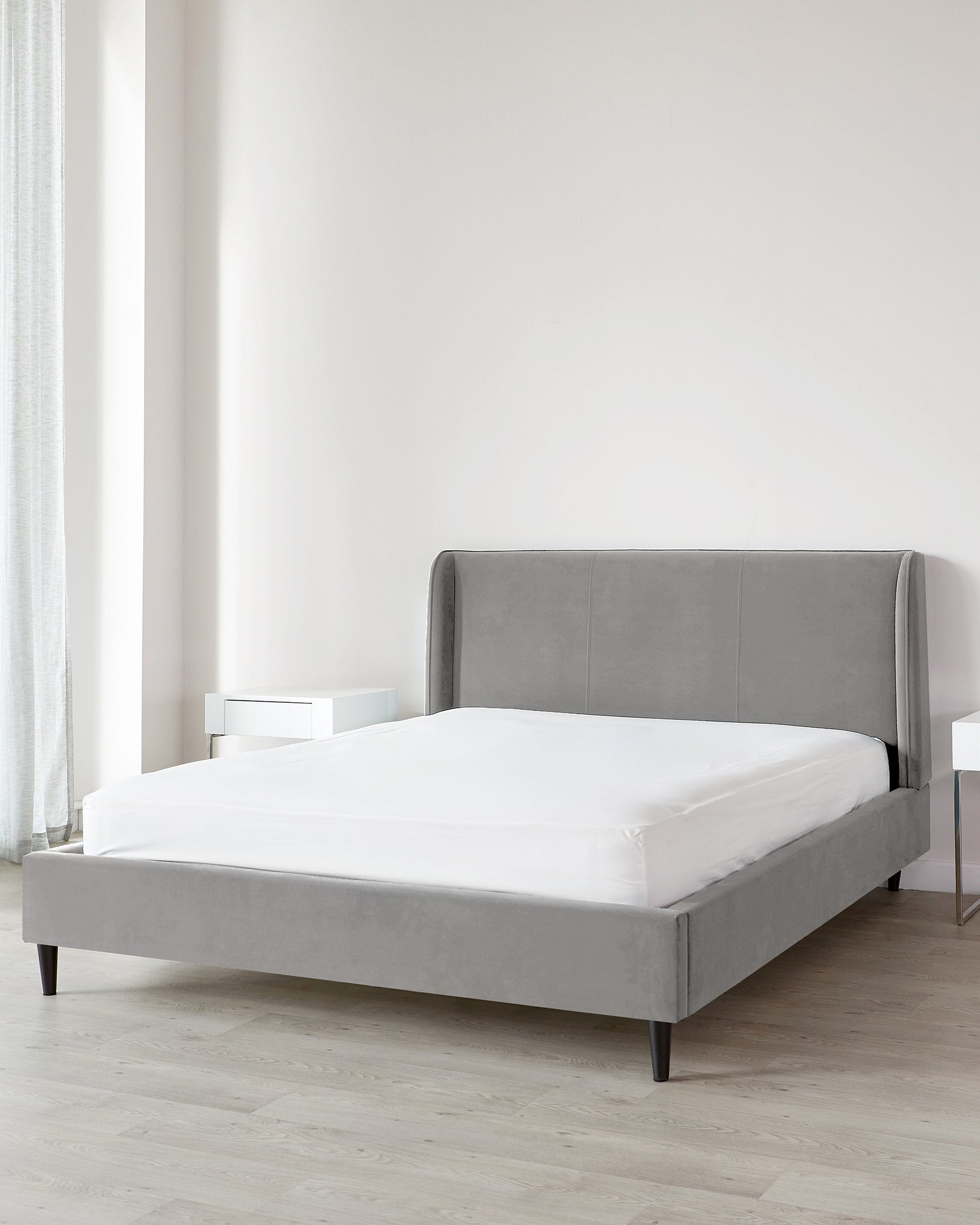 Paolo Light Grey Velvet Double Bed