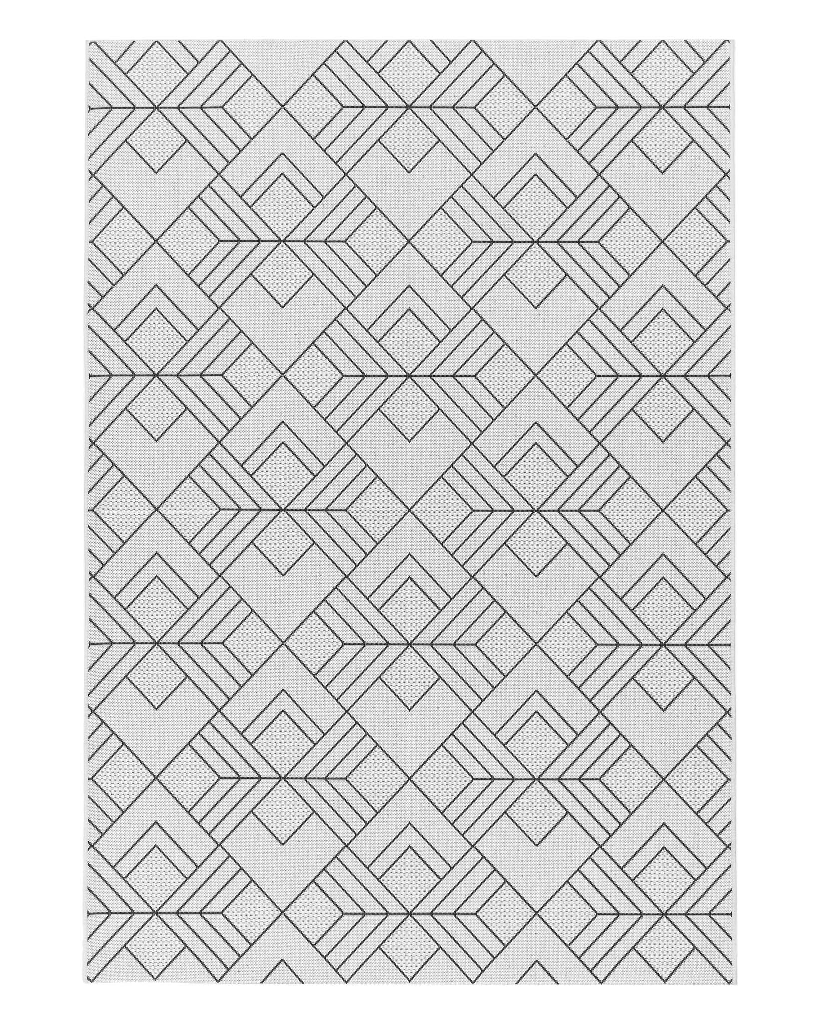 Cream Geometric Terrazza Small Garden Rug