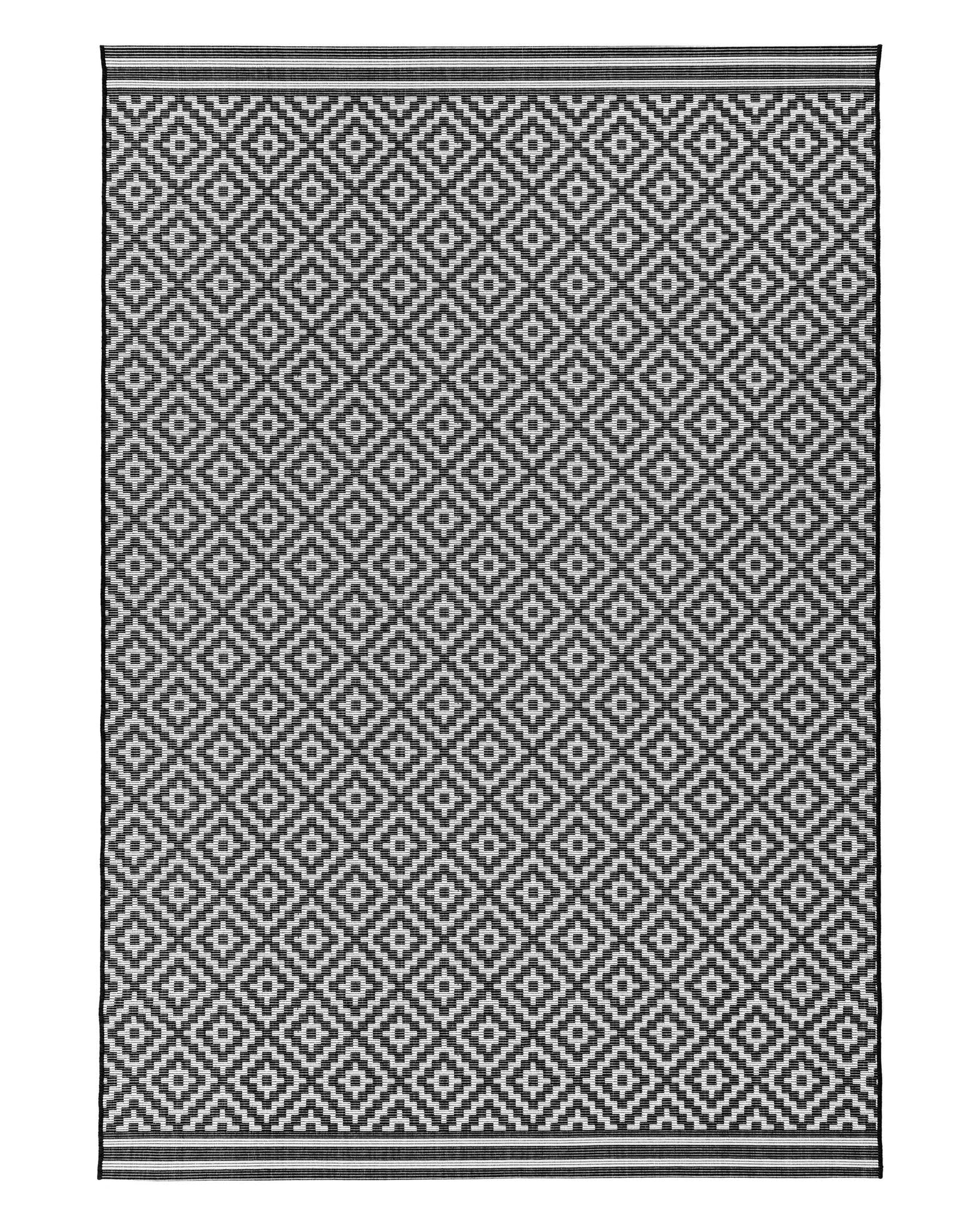 Diamond Black And White Terrazza Small Garden Rug