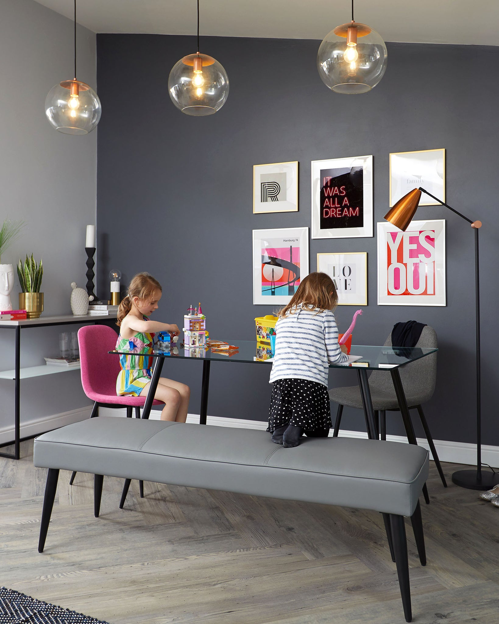 Mellow Grey 3 Seater Bench Without Backrest