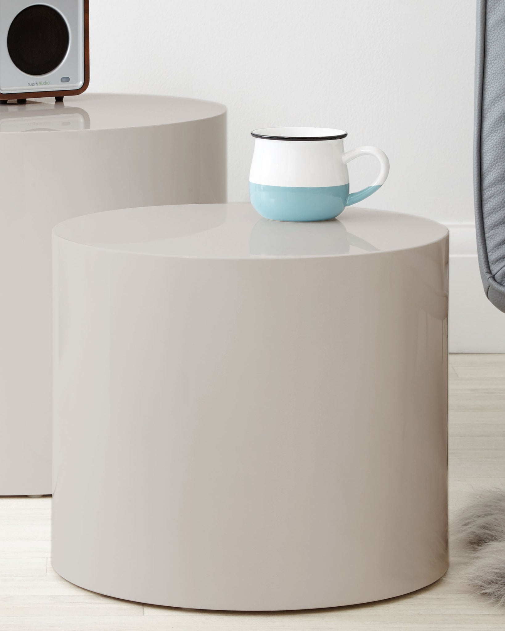 Pebble Dove Grey Gloss Side Tables