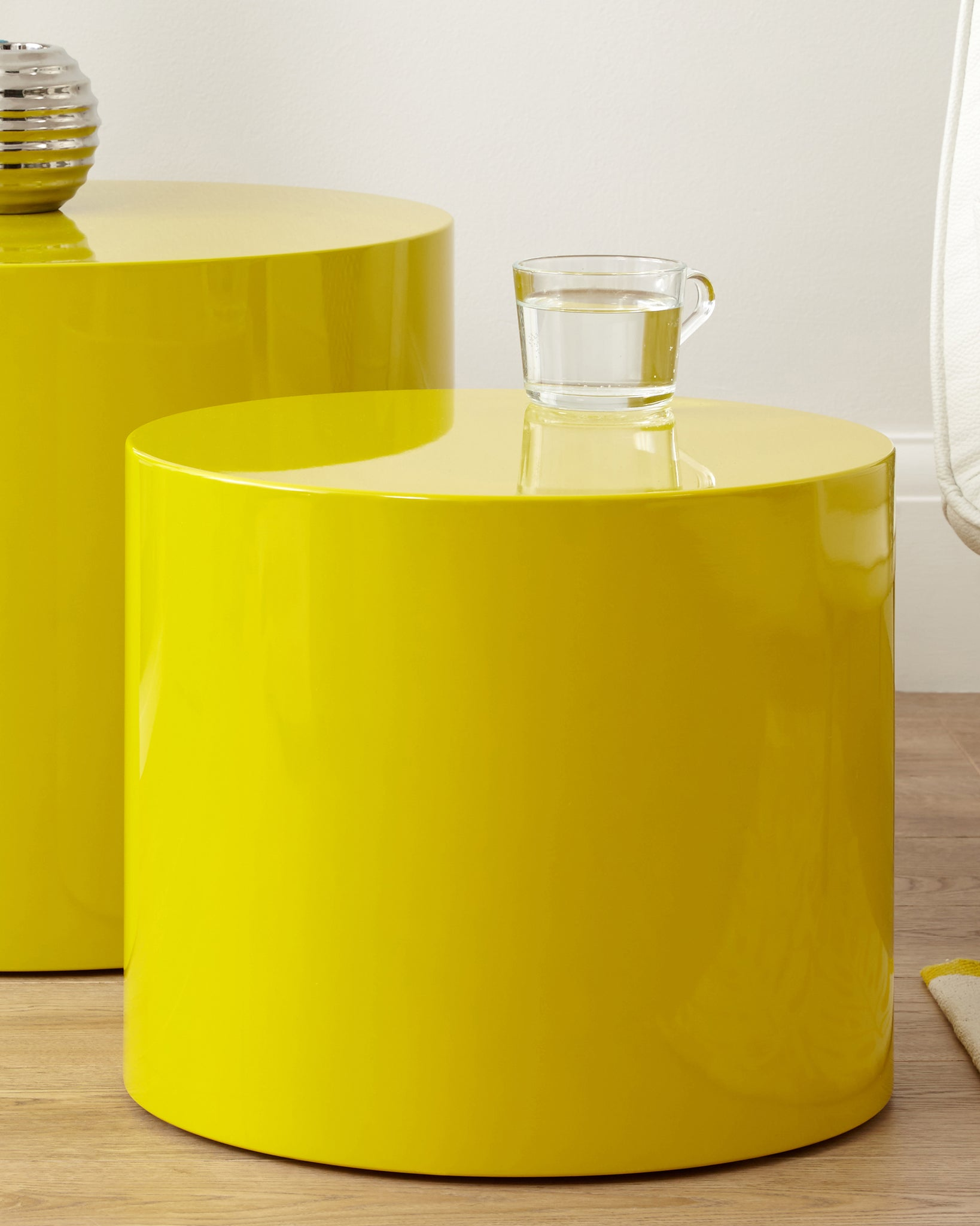 Pebble Mustard Yellow Gloss Side Tables