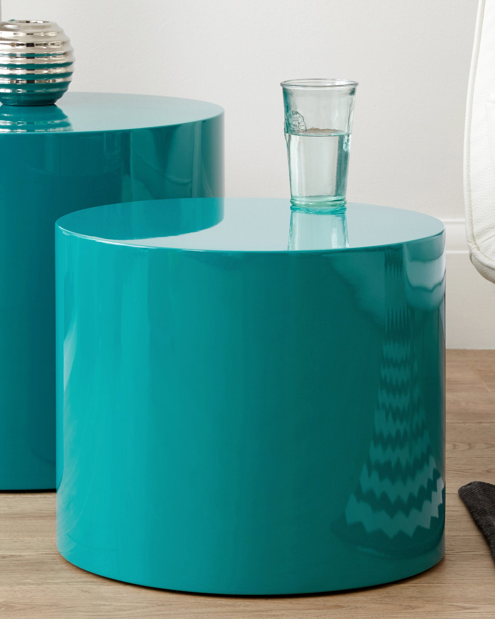 Pebble Teal Gloss Side Tables