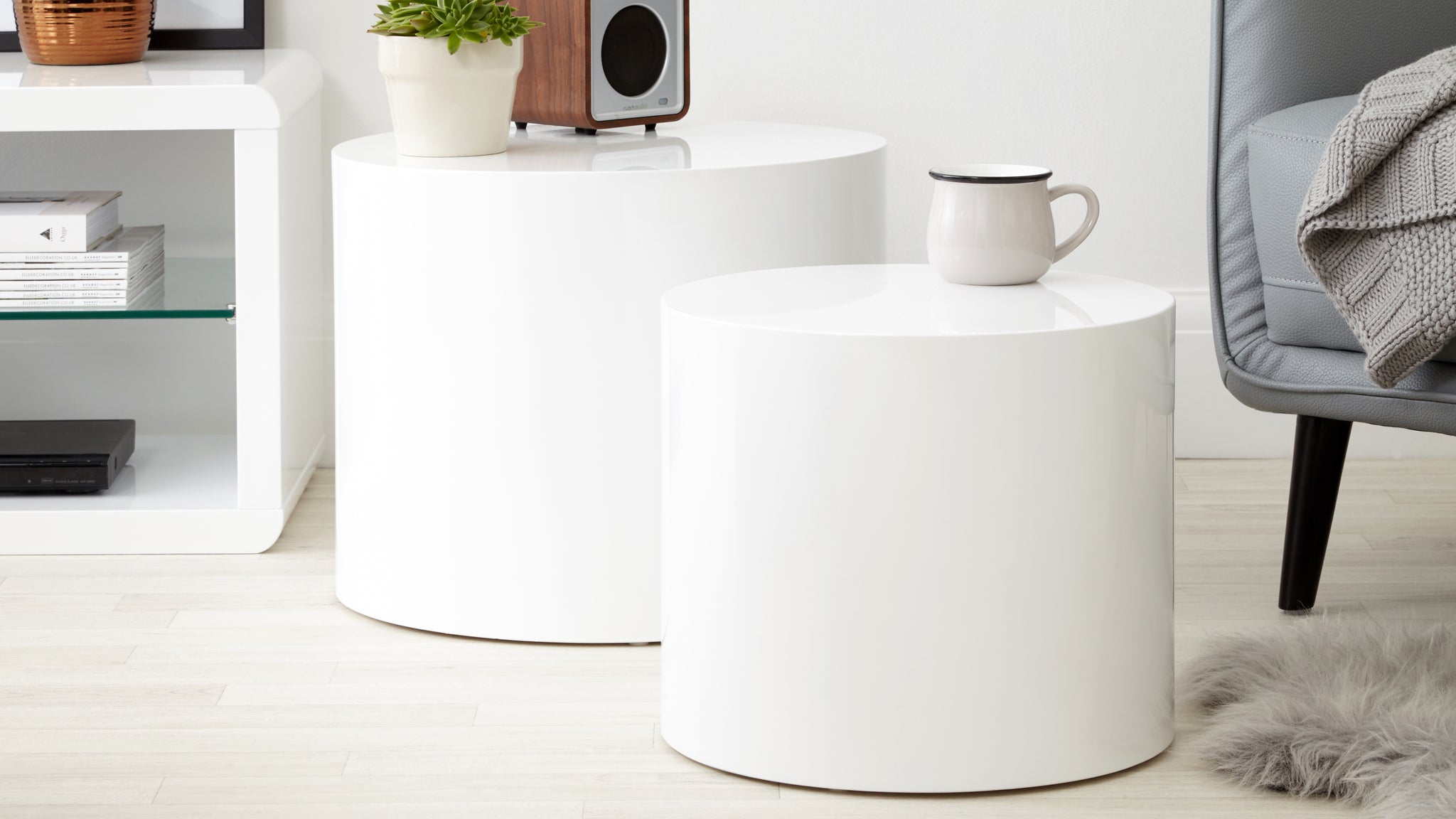 Pebble White Gloss Side Tables