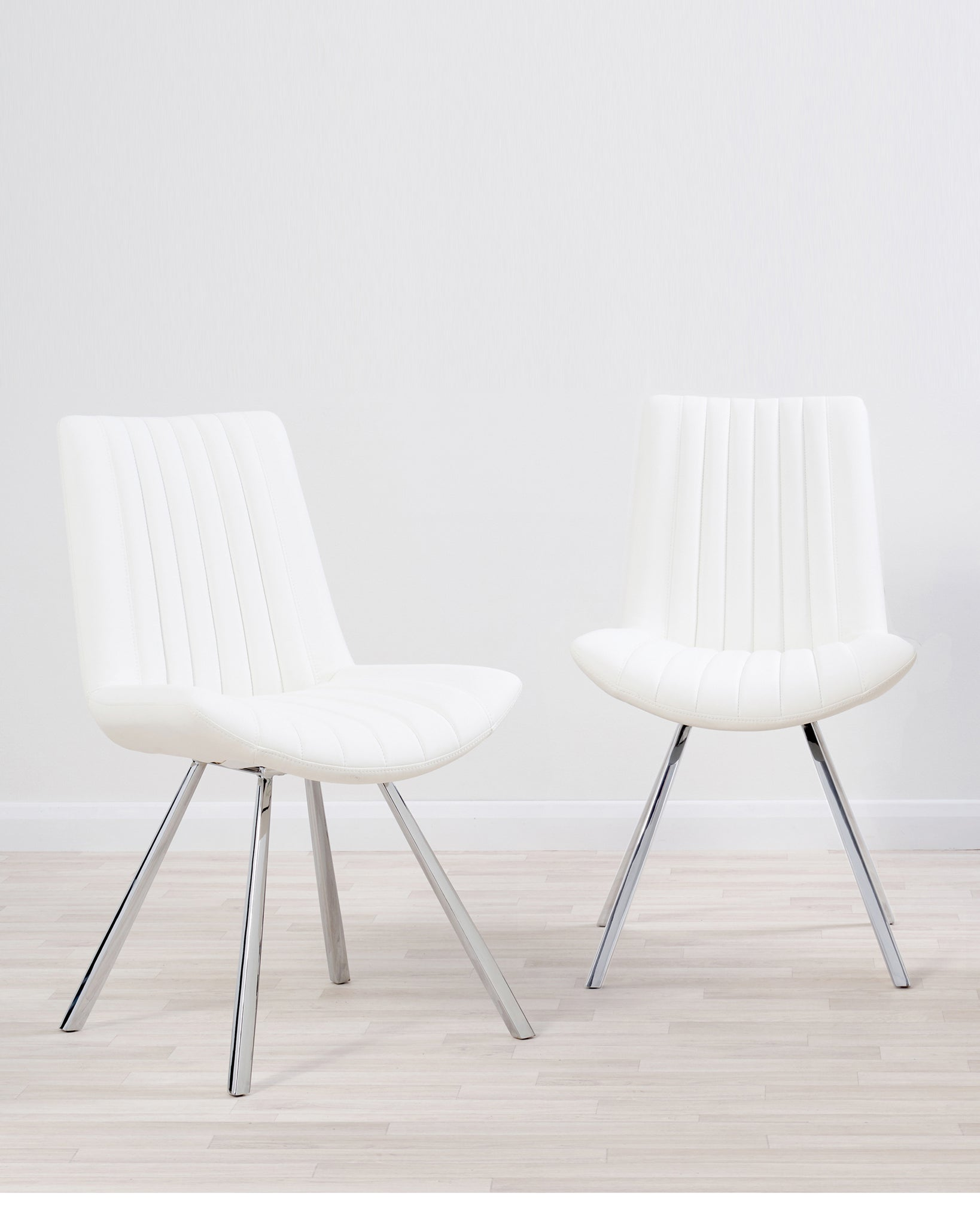 Petra White Quilted Faux Leather Dining Chair - Set Of 2