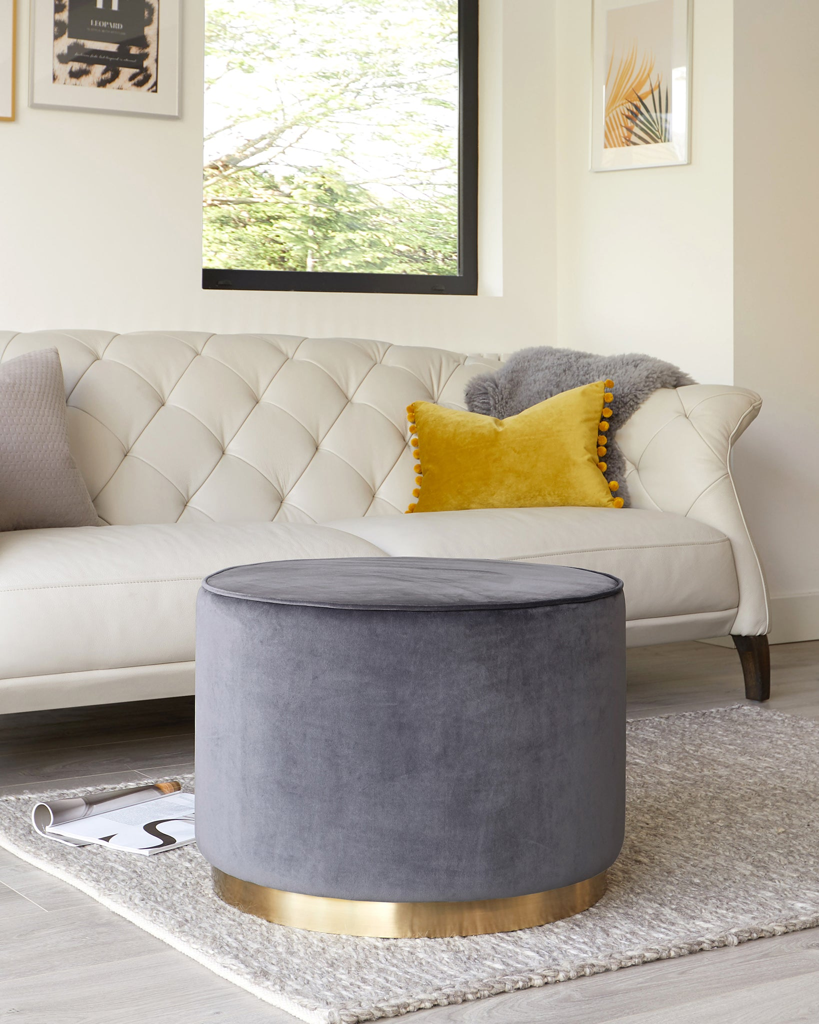 Plaza Large Dark Grey Velvet And Brass Footstool