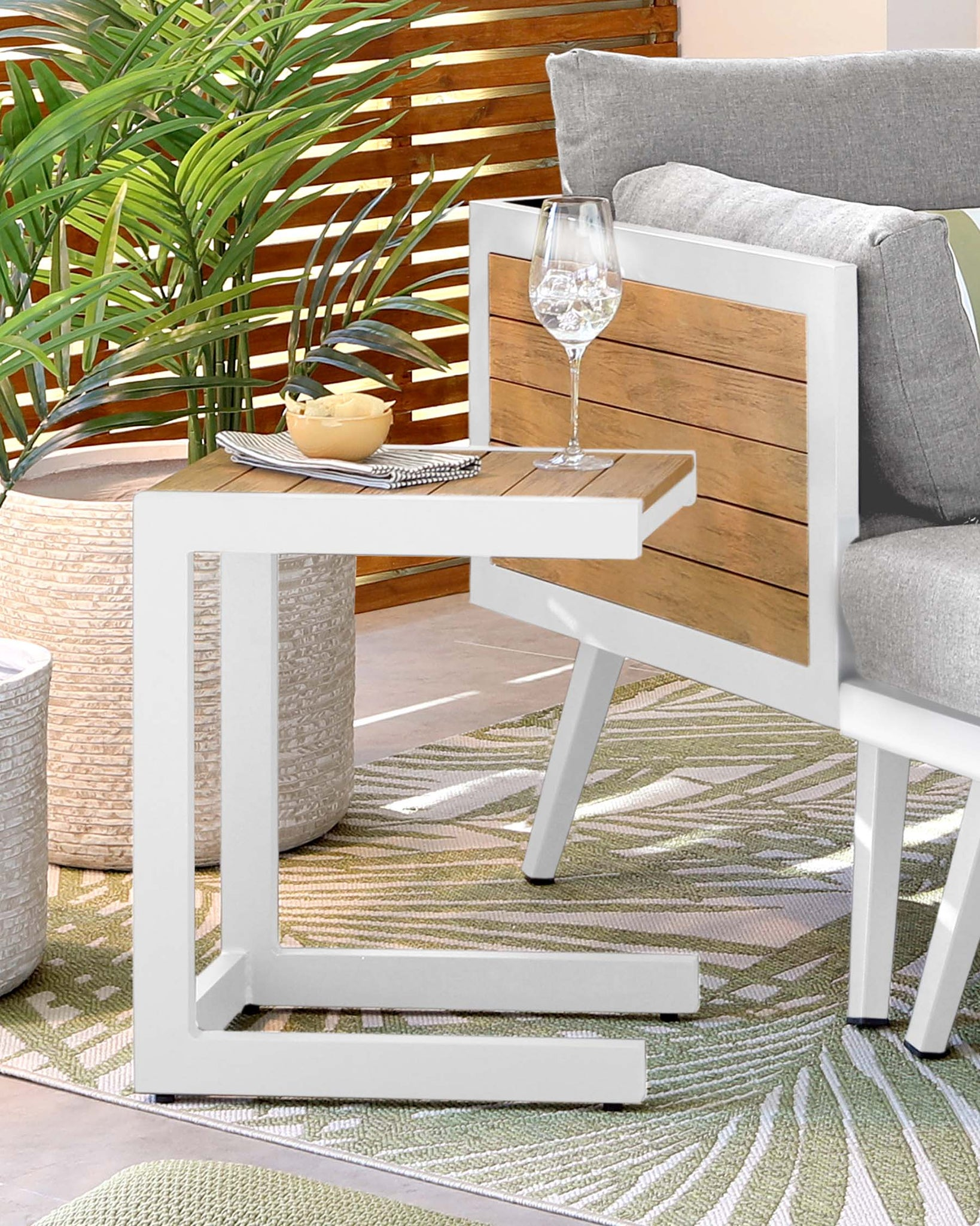 Pompeii White Outdoor Side Table