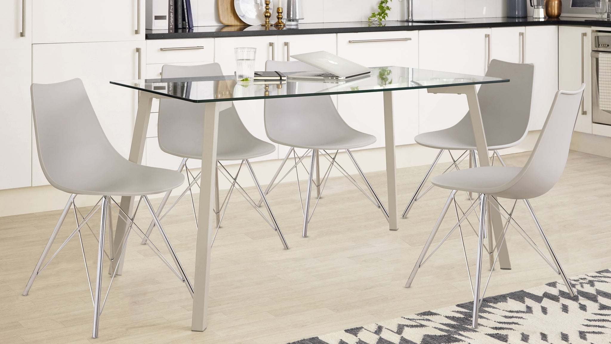 Profile And Stylo 4-6 Seater Glass And Grey Dining Set