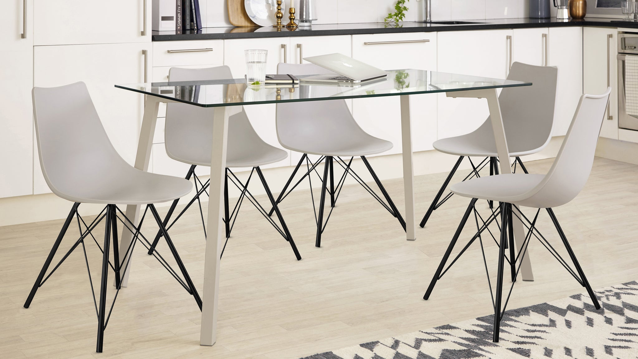 Profile And Delta 4-6 Seater Glass And Grey Dining Set