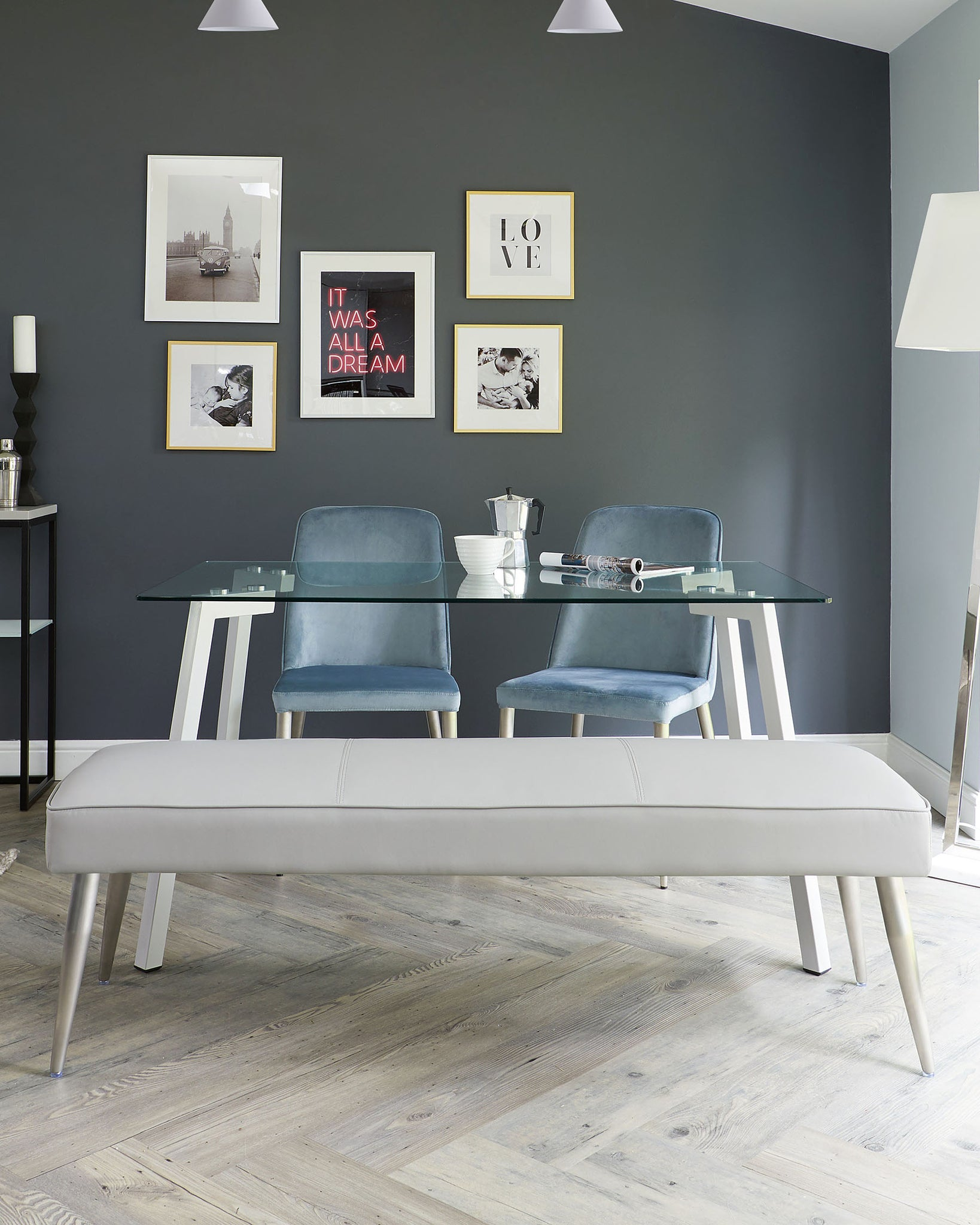 Mellow Light Grey Faux Leather And Stainless Steel 3 Seater Without Backrest Dining Bench