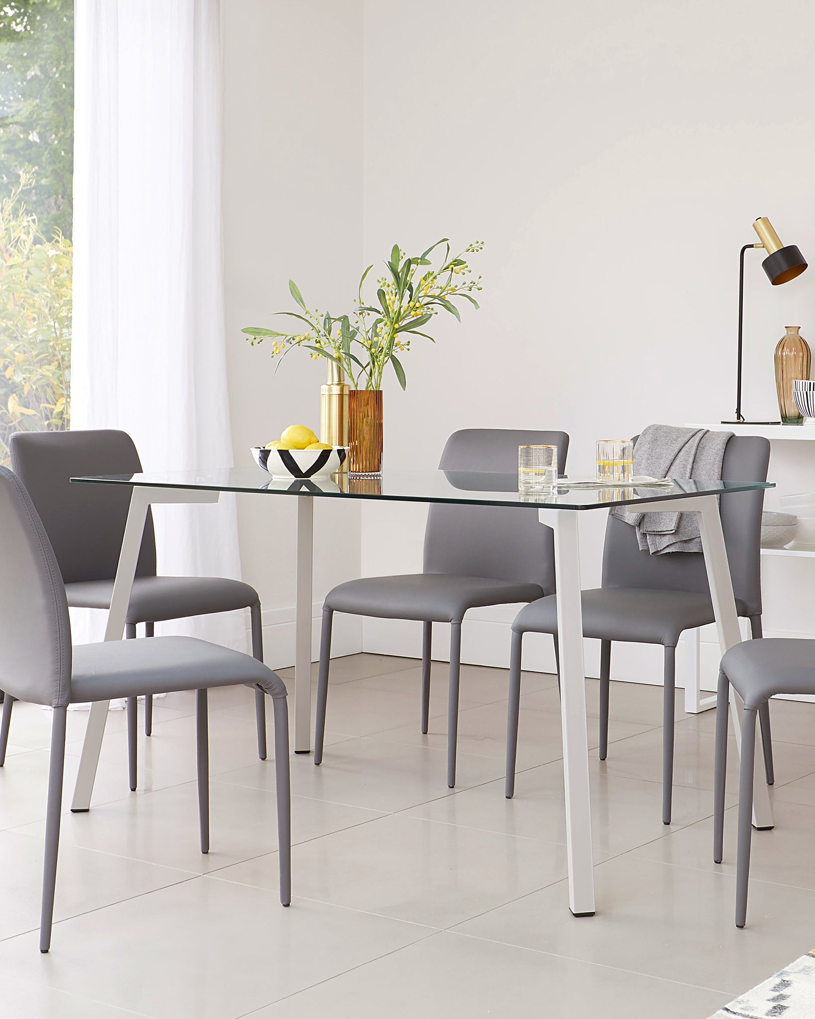 Profile Glass 4 To 6 Seater Dining Table