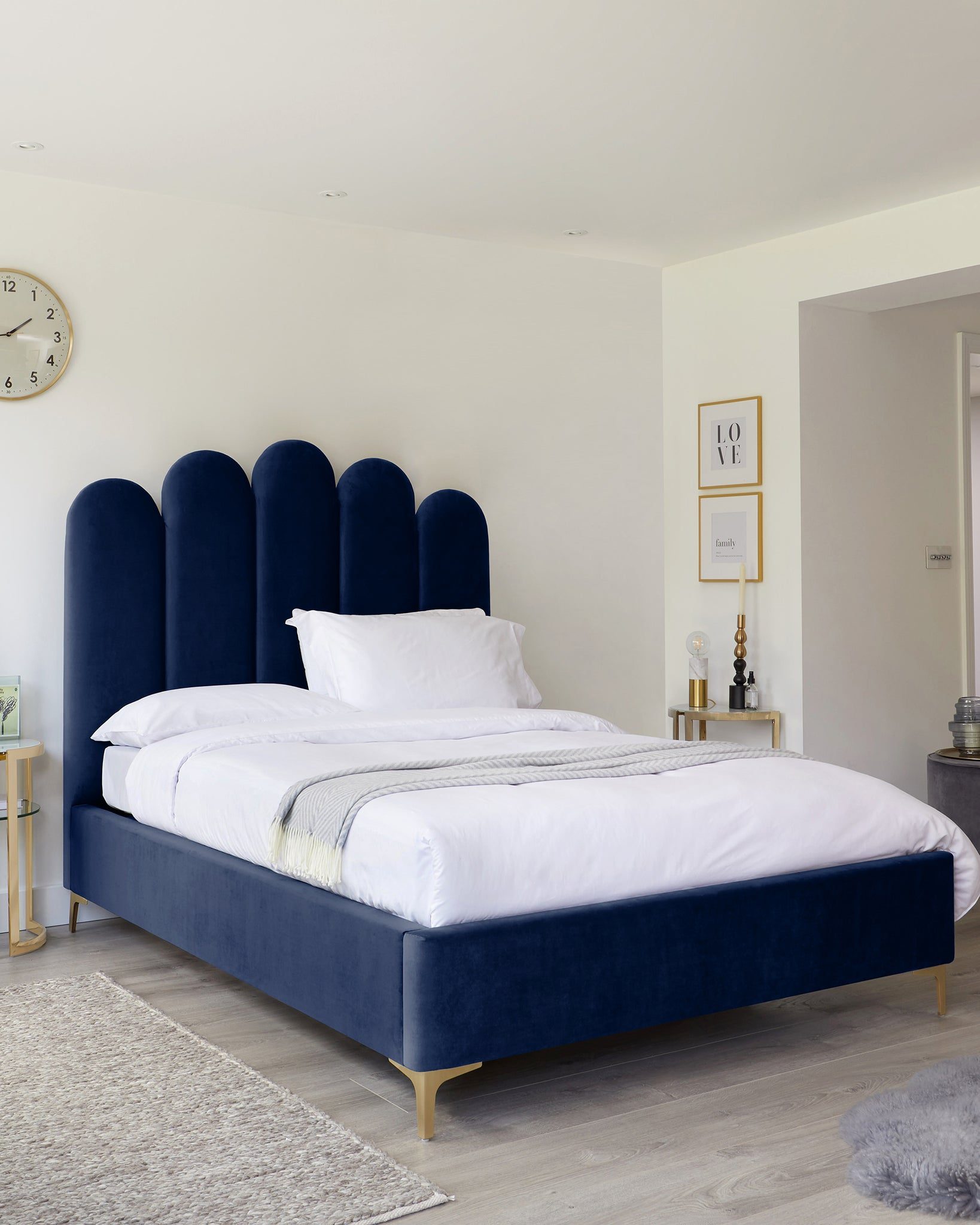 Navy Blue Velvet Double Ottoman Bed With Brass Feet By Danetti
