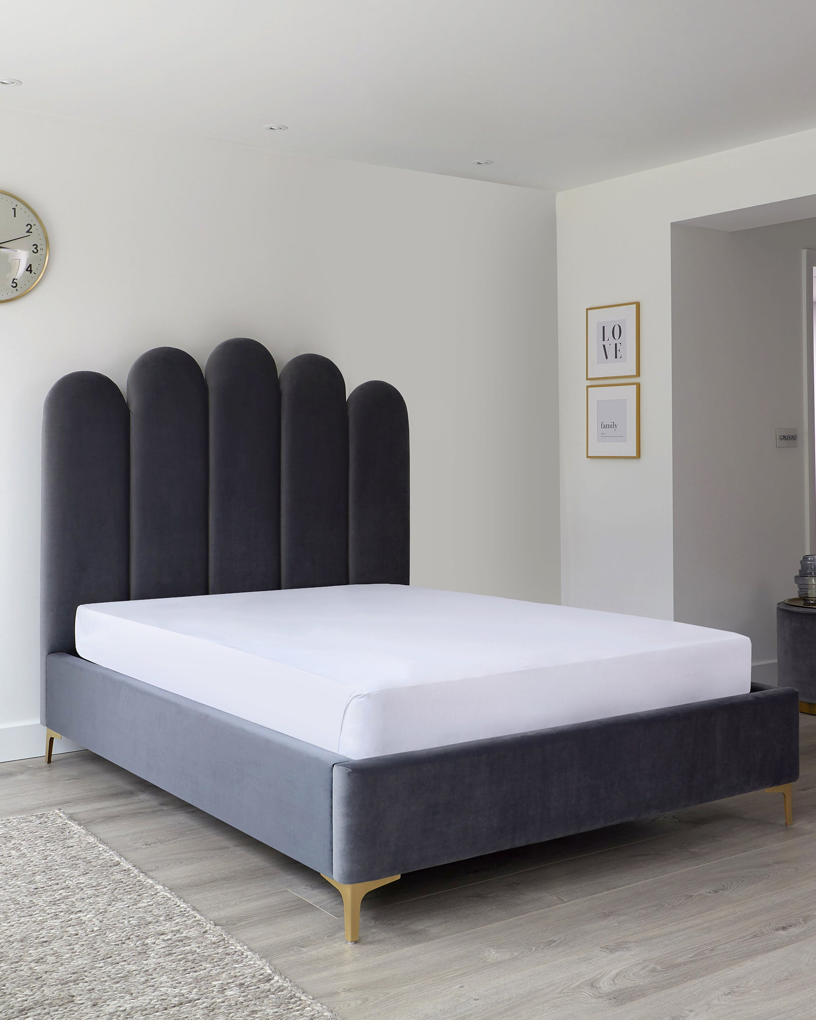 Rene Grey Velvet And Brushed Brass King Size Ottoman Bed