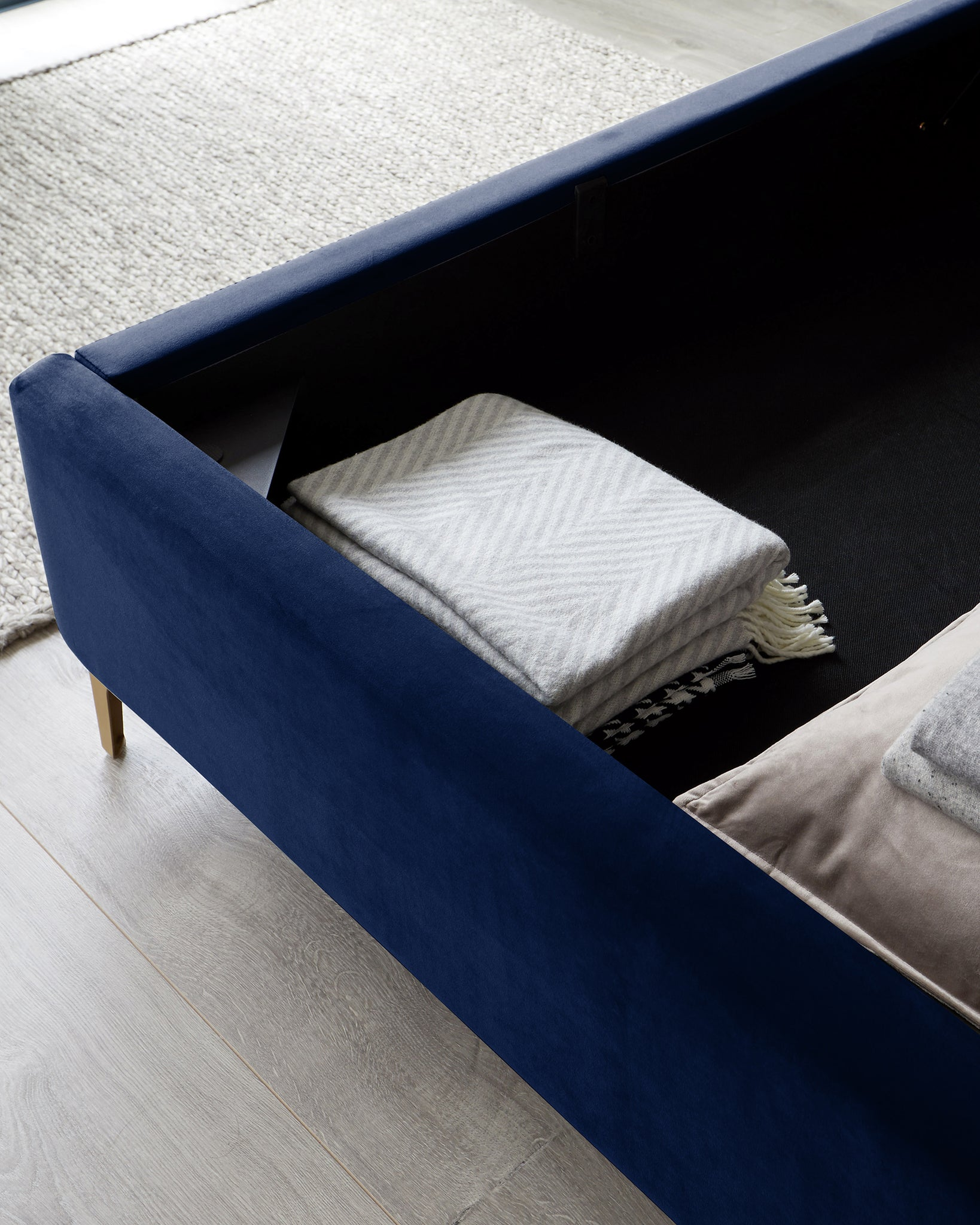 Rene Navy Blue Velvet And Brushed Brass King Size Ottoman Bed