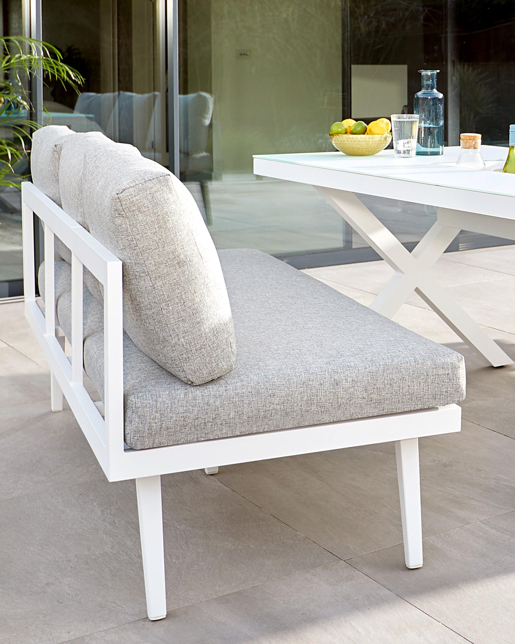 Palermo White 3 Seater Garden Bench with Backrest