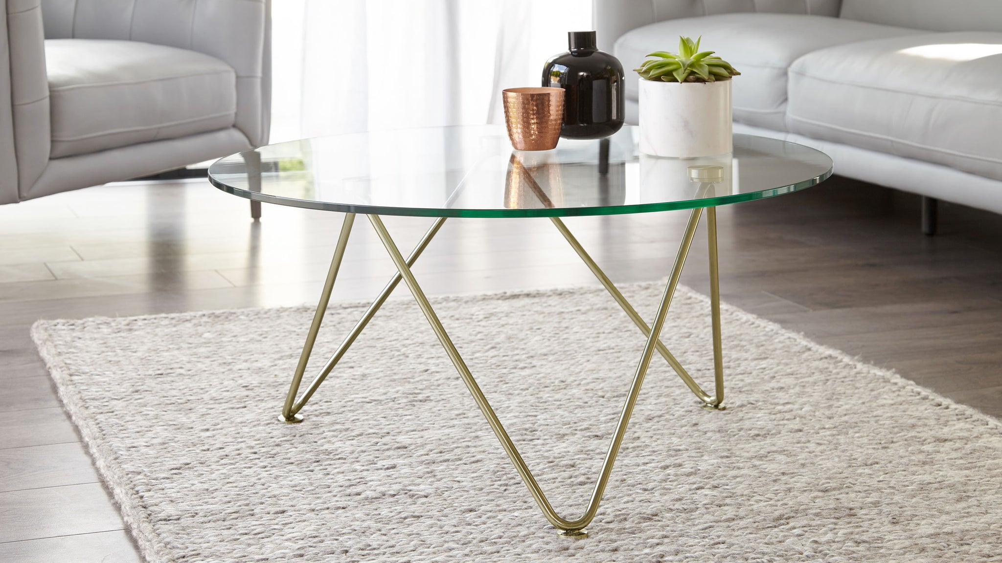 Ripple Glass And Brass Coffee Table