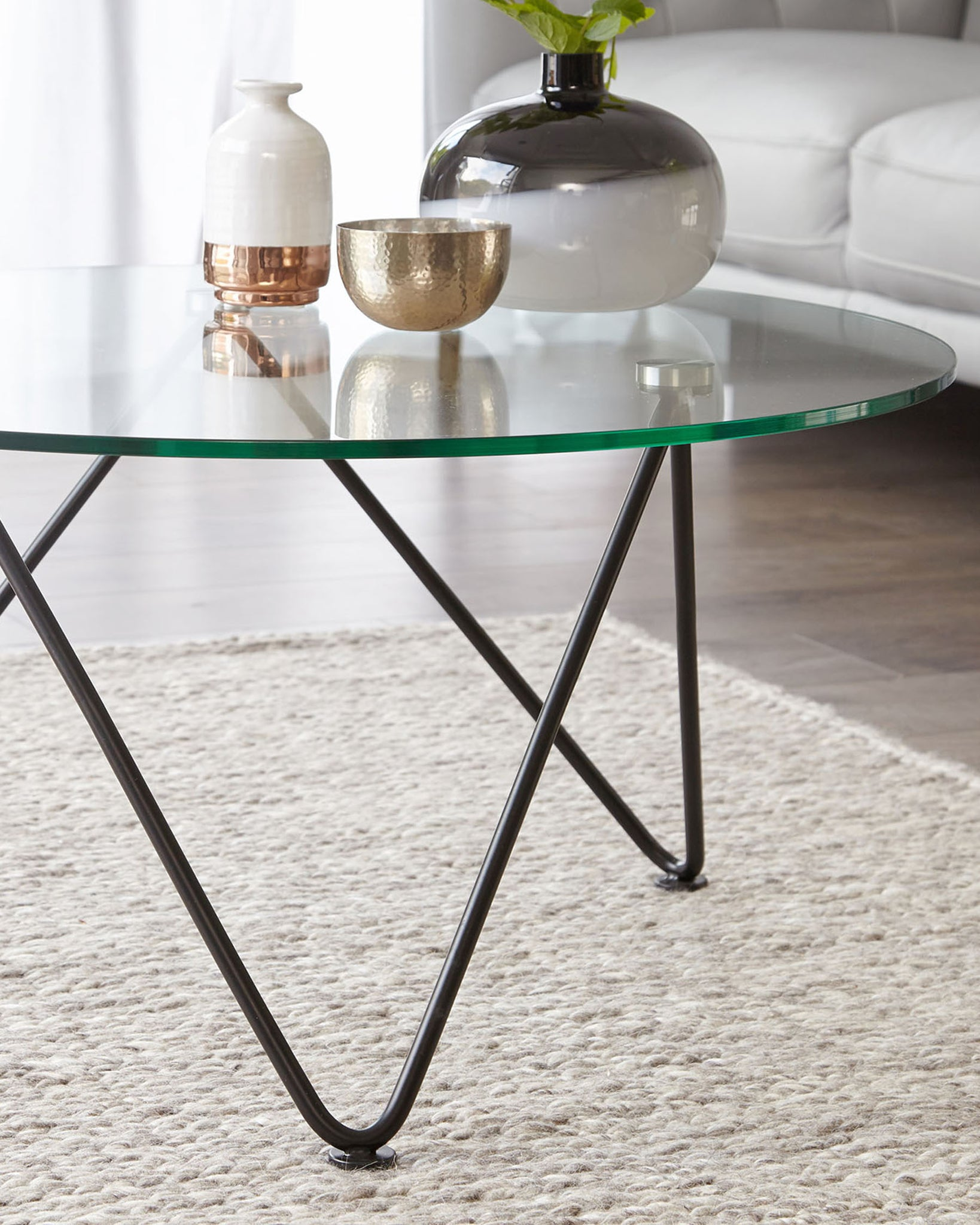 Ripple Glass And Matt Black Coffee Table