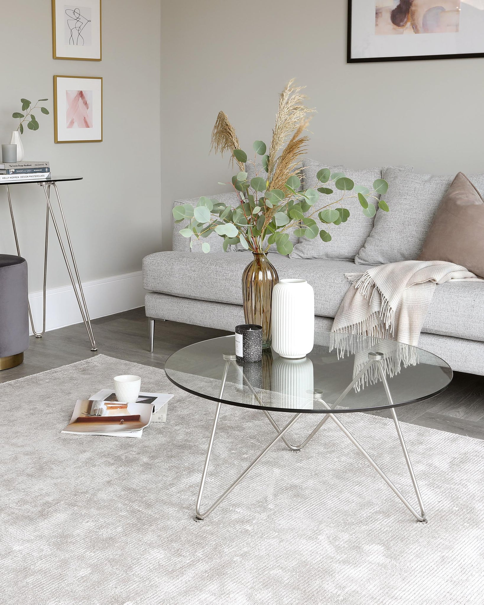 Ripple Glass and Polished Stainless Steel Coffee Table