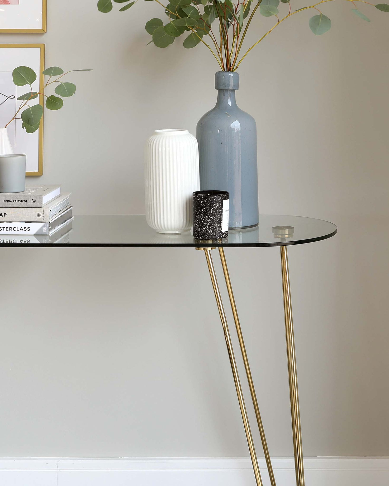 Ripple Glass And Brass Console Table
