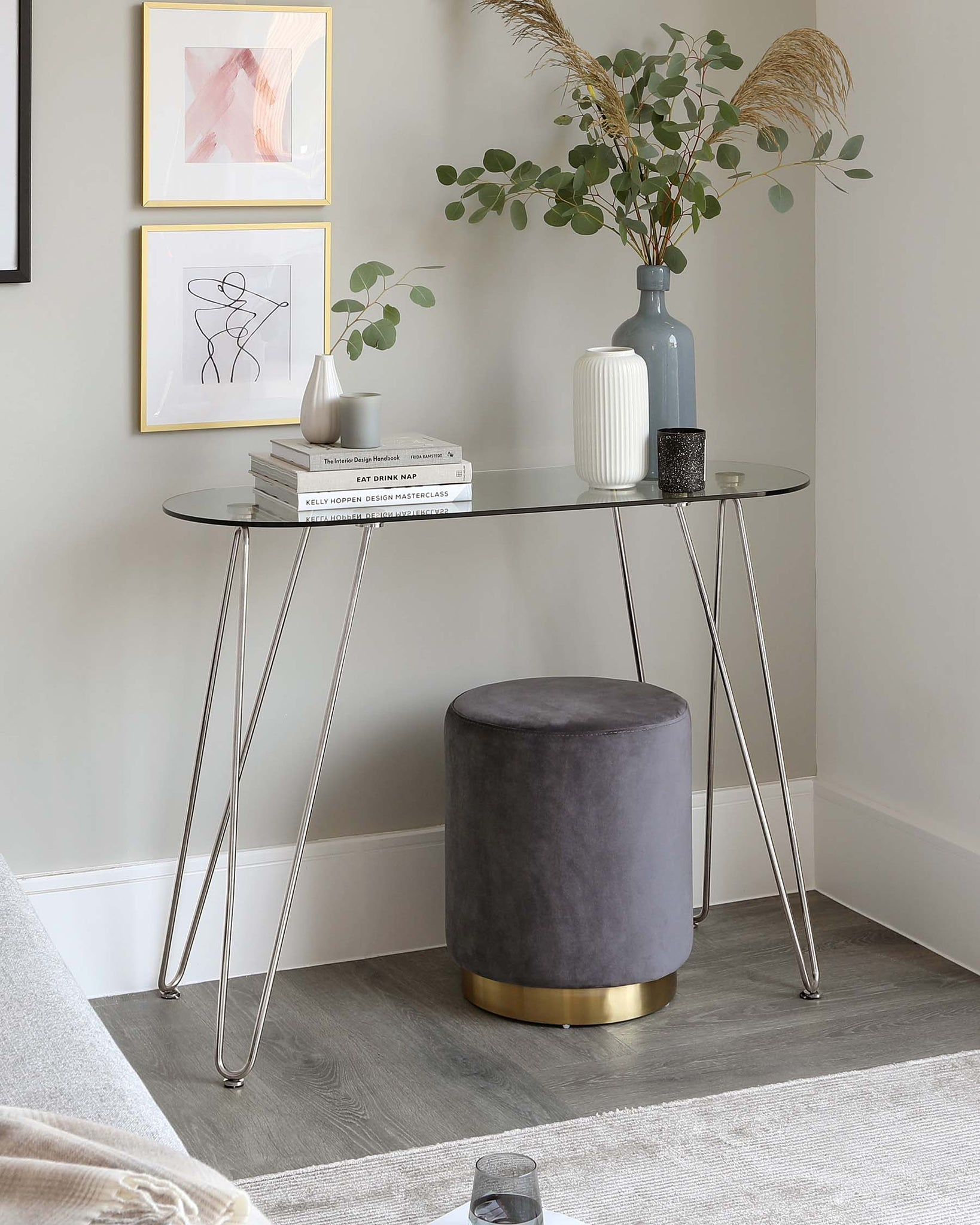 Ripple Glass And Polished Stainless Steel Console Table