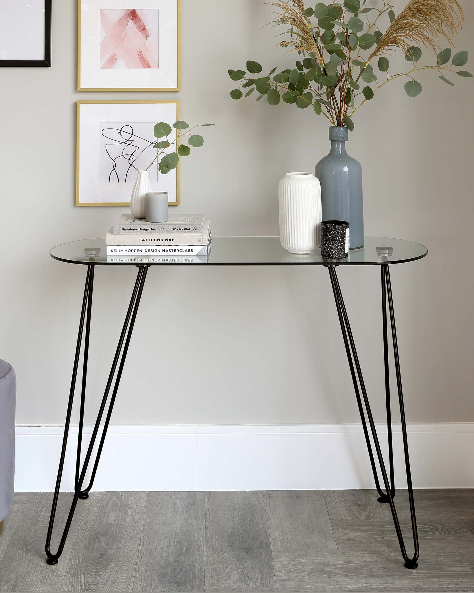 Ripple Glass And Matt Black Console Table
