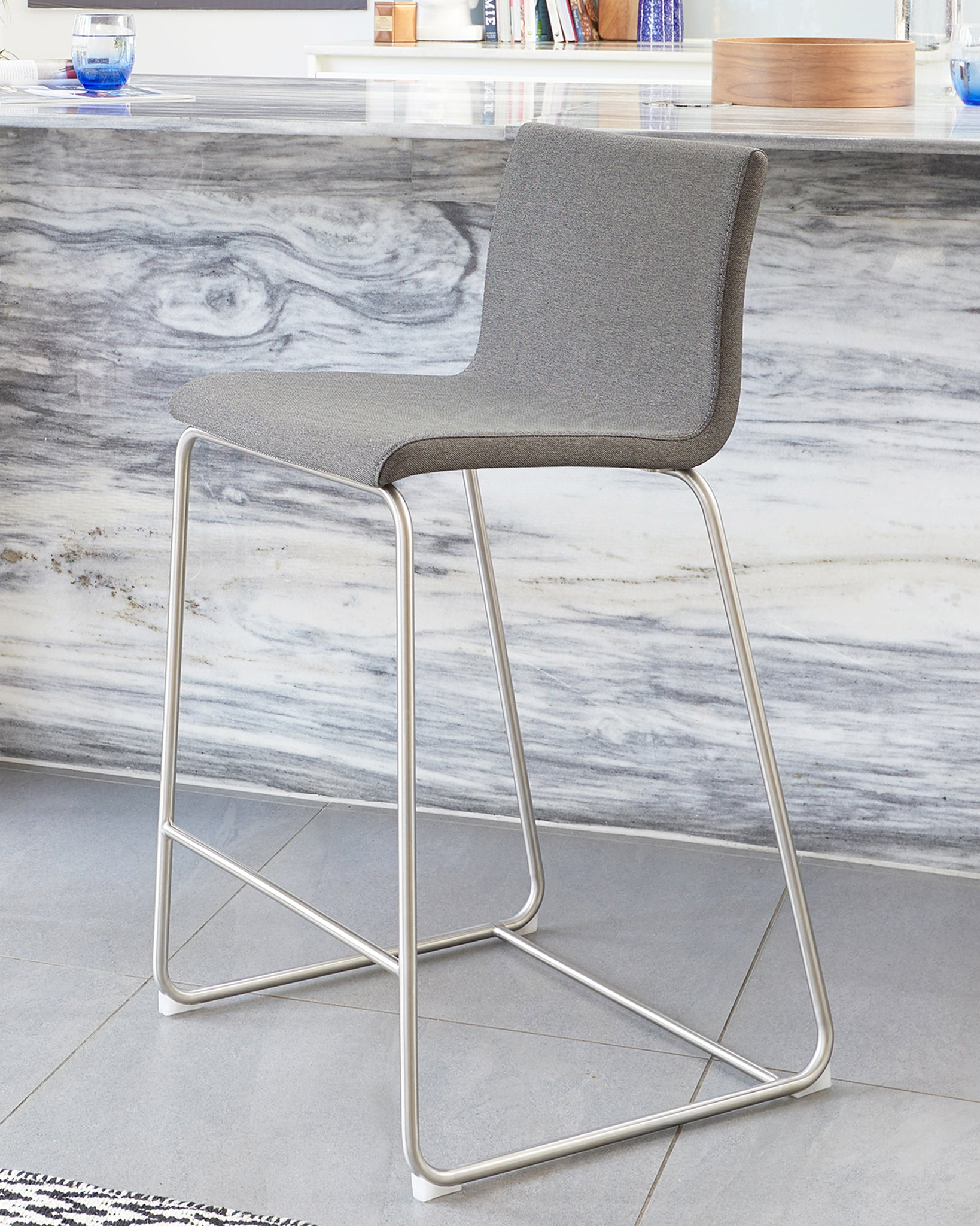 Riva Graphite Grey Fabric Bar Stool