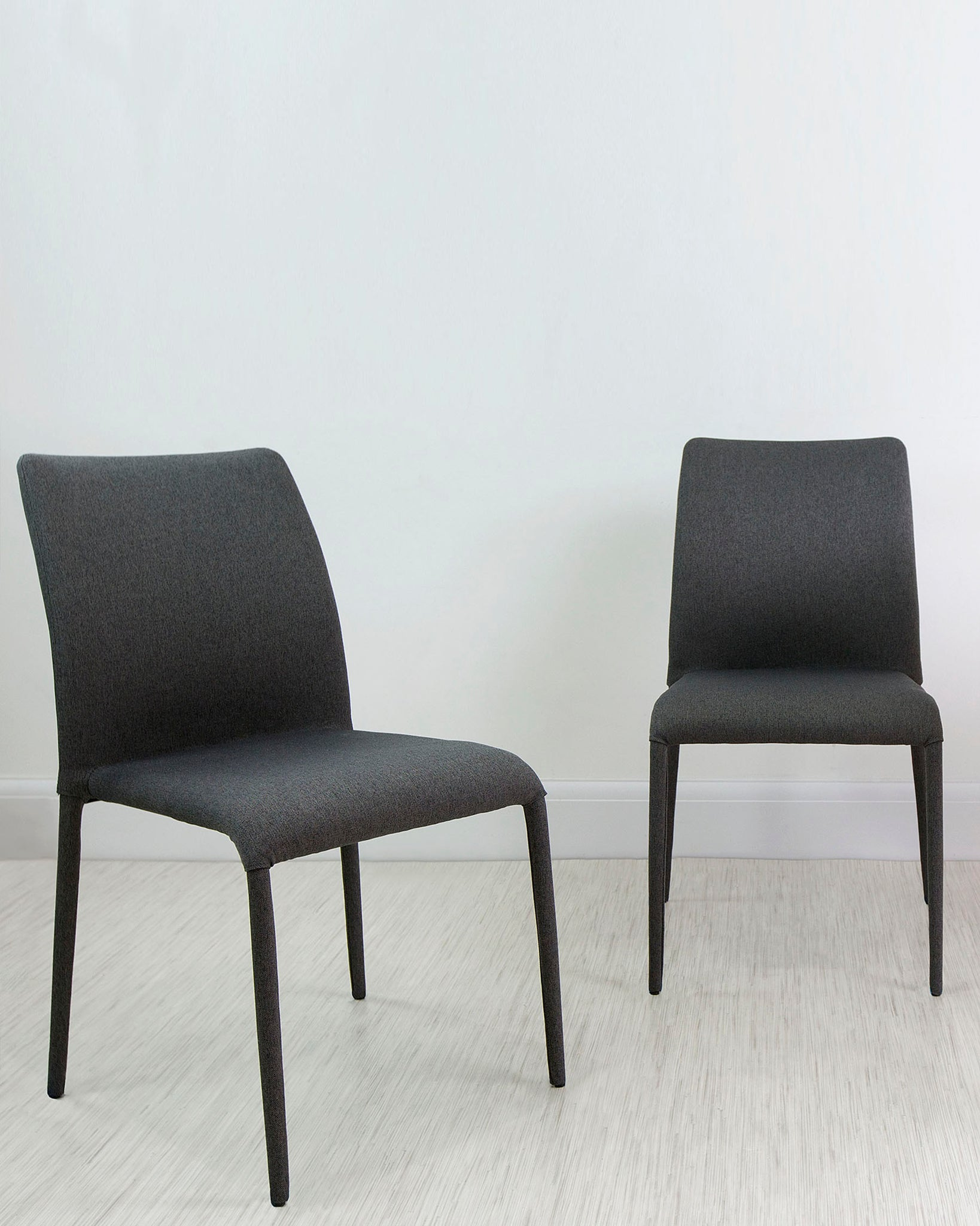 Riva Dark Grey Stackable Fabric Dining Chair - Set Of 2