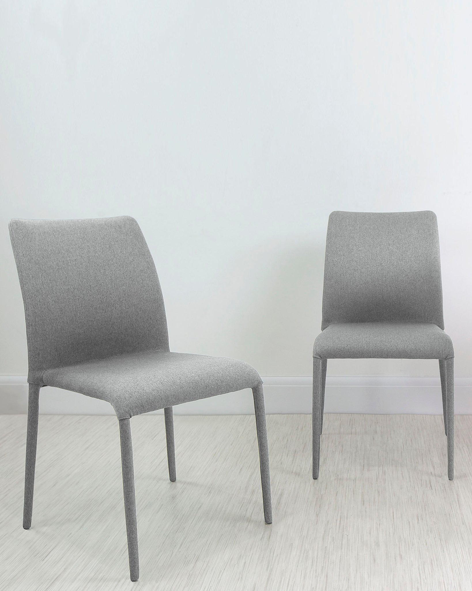 Riva Light Grey Stackable Fabric Dining Chair - Set Of 2