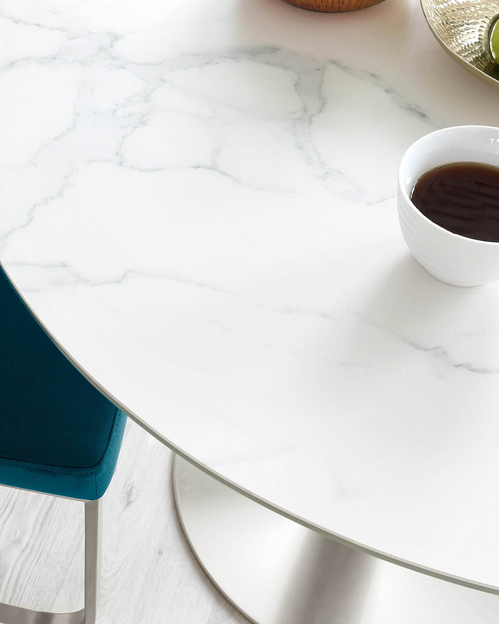 Romeo Ceramic Marble and Stainless Steel Pedestal Table