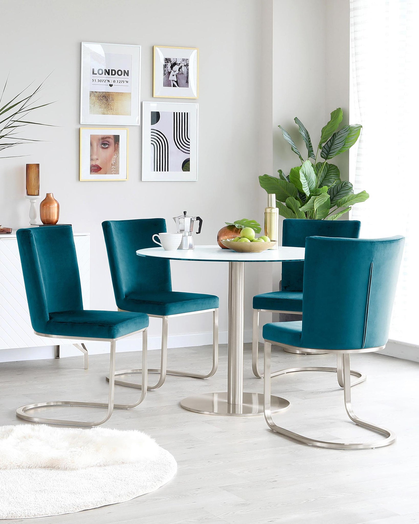 Romeo Stainless Steel Pedestal and Form Velvet Chair Set