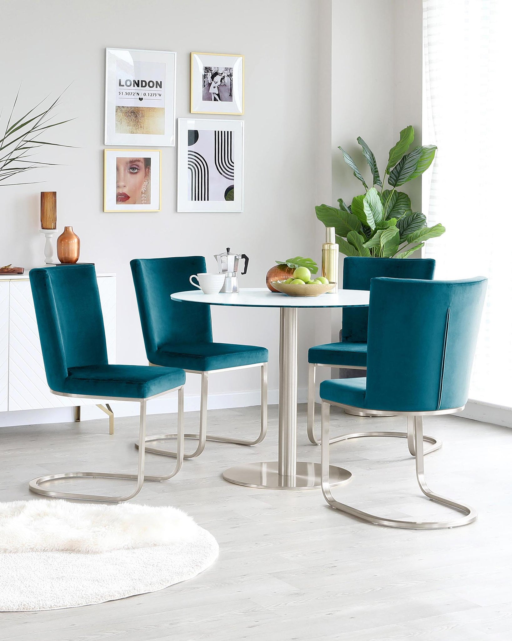 Form Dark Teal Velvet And Brushed Steel Cantilever Dining Chair - Set Of 2