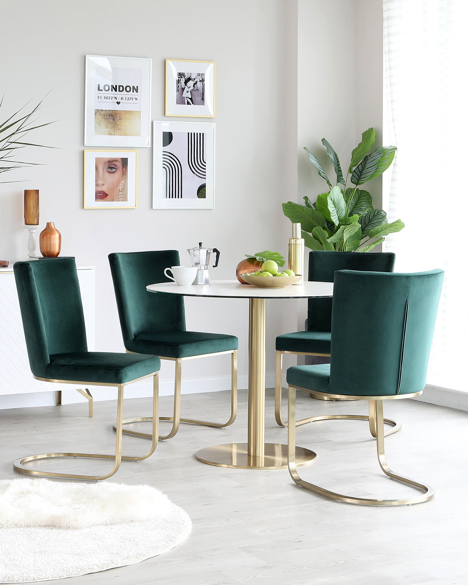 Form Dark Green Velvet And Brass Cantilever Dining Chair - Set Of 2