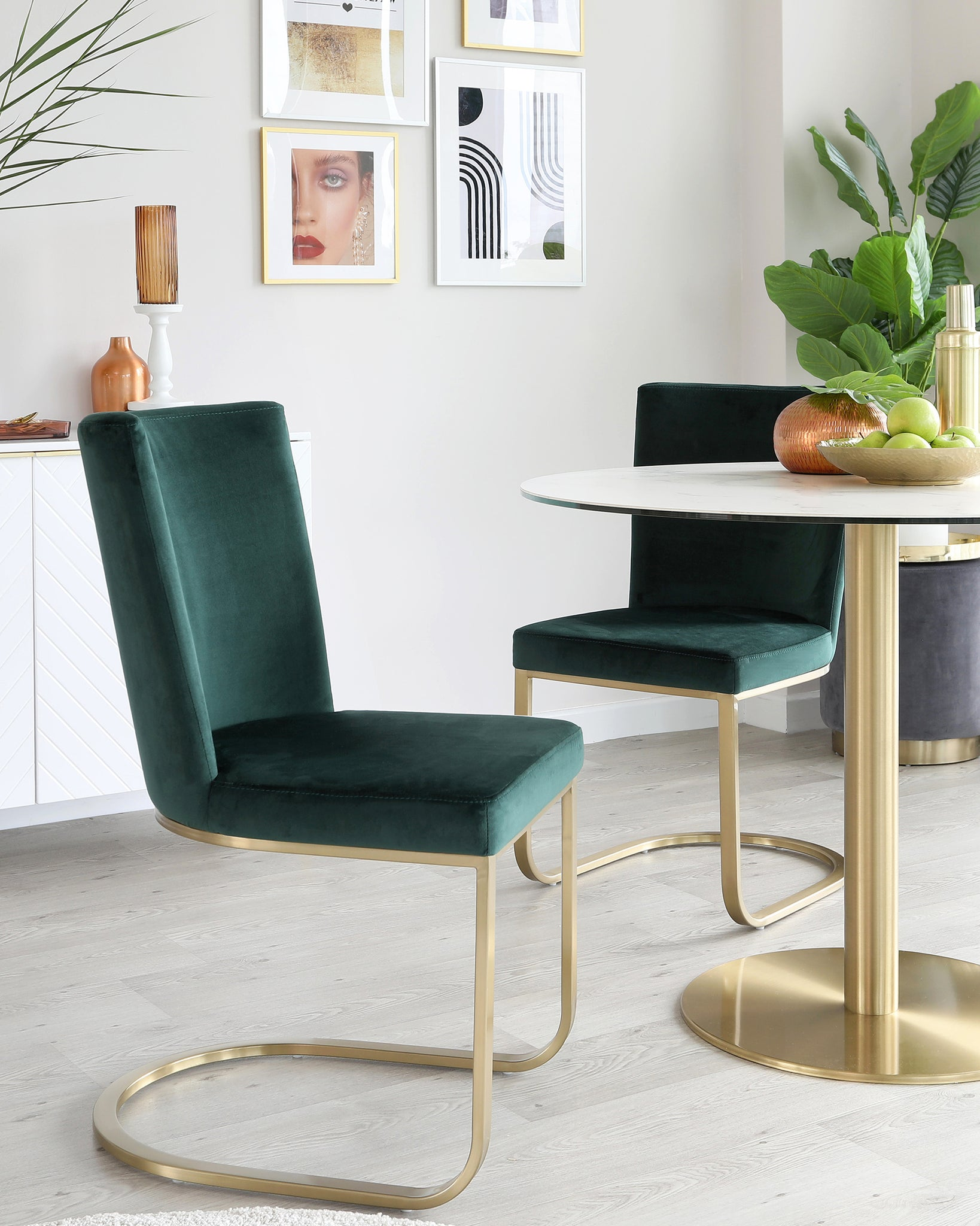 Romeo Ceramic Marble and Brass Round Pedestal Table