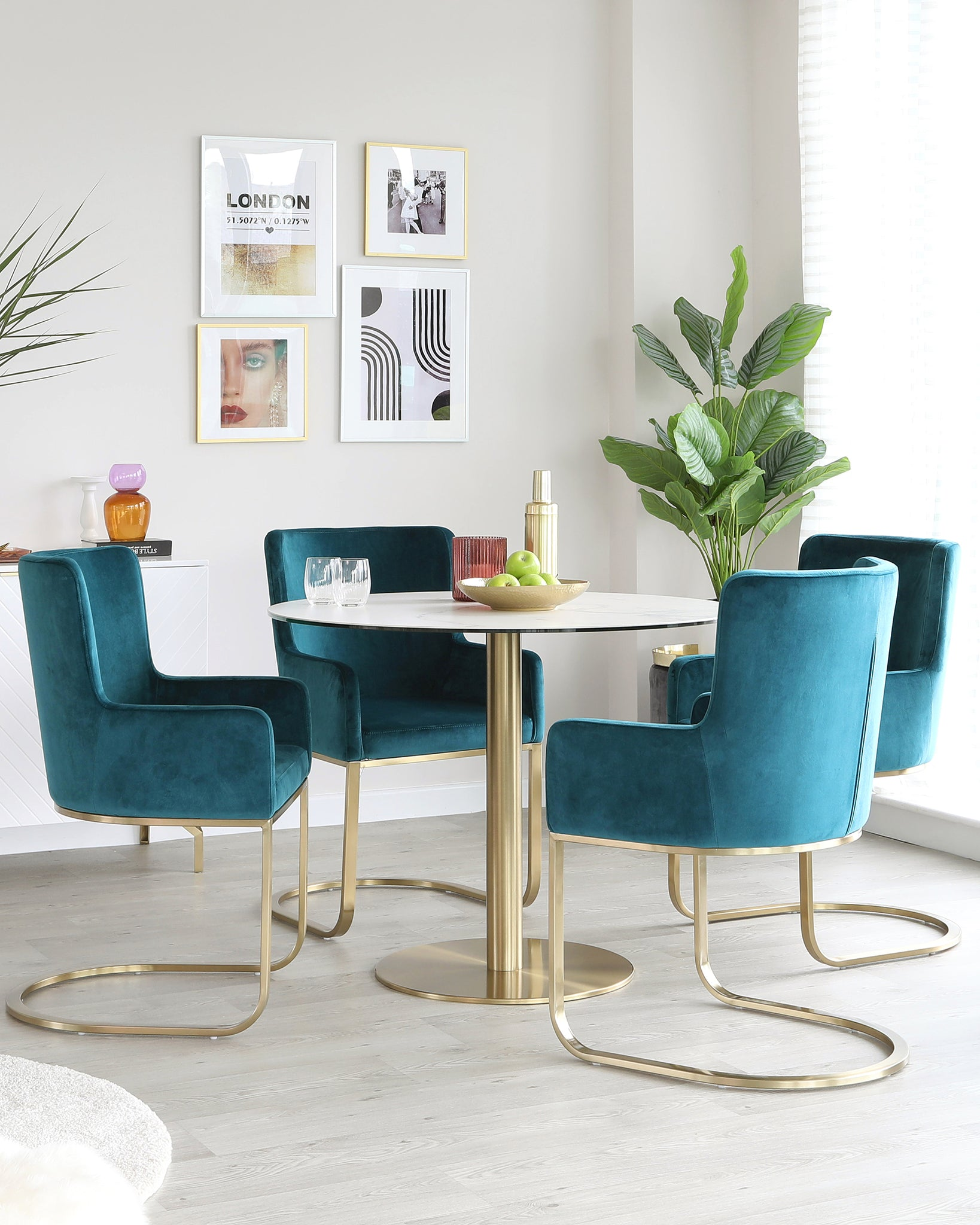 Romeo Marble Table With Teal Velvet Armchairs