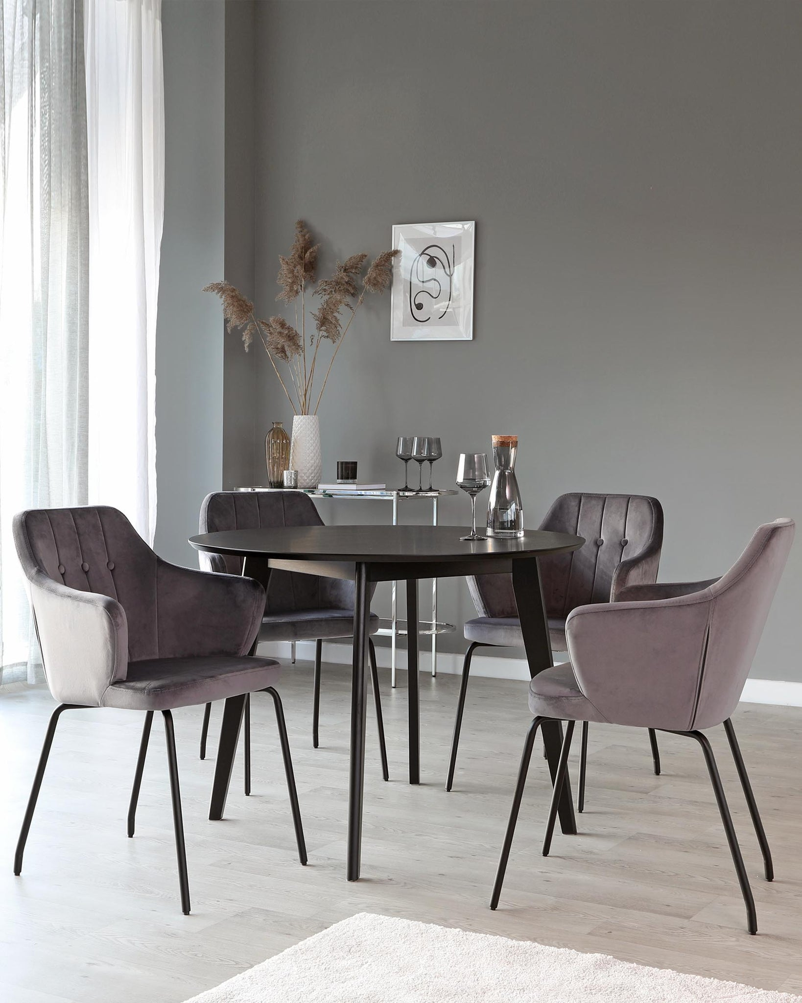 Fiora Dark Grey Velvet Dining Armchair