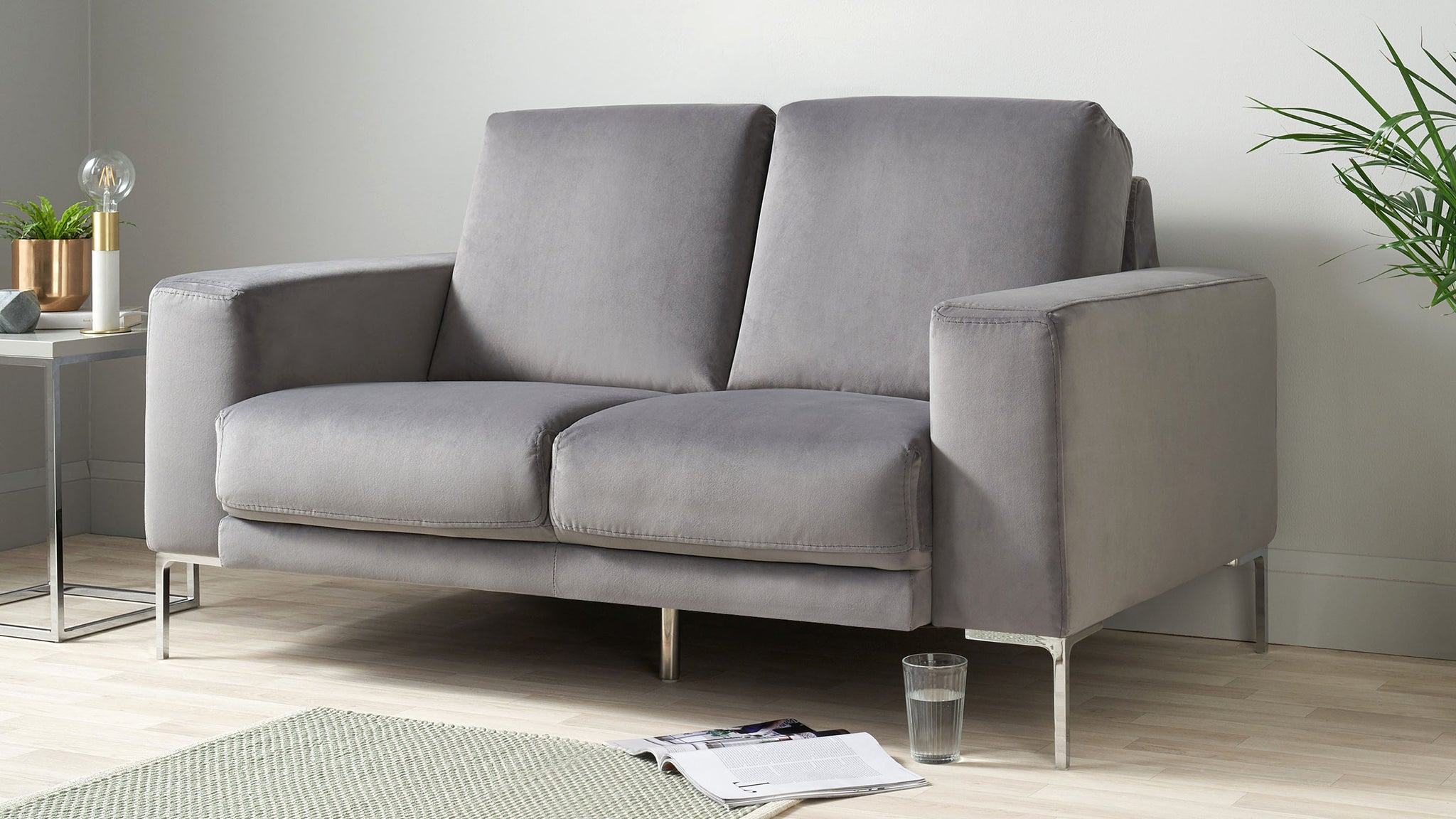 Studio Dark Grey Velvet With Chrome Leg 2 Seater Sofa
