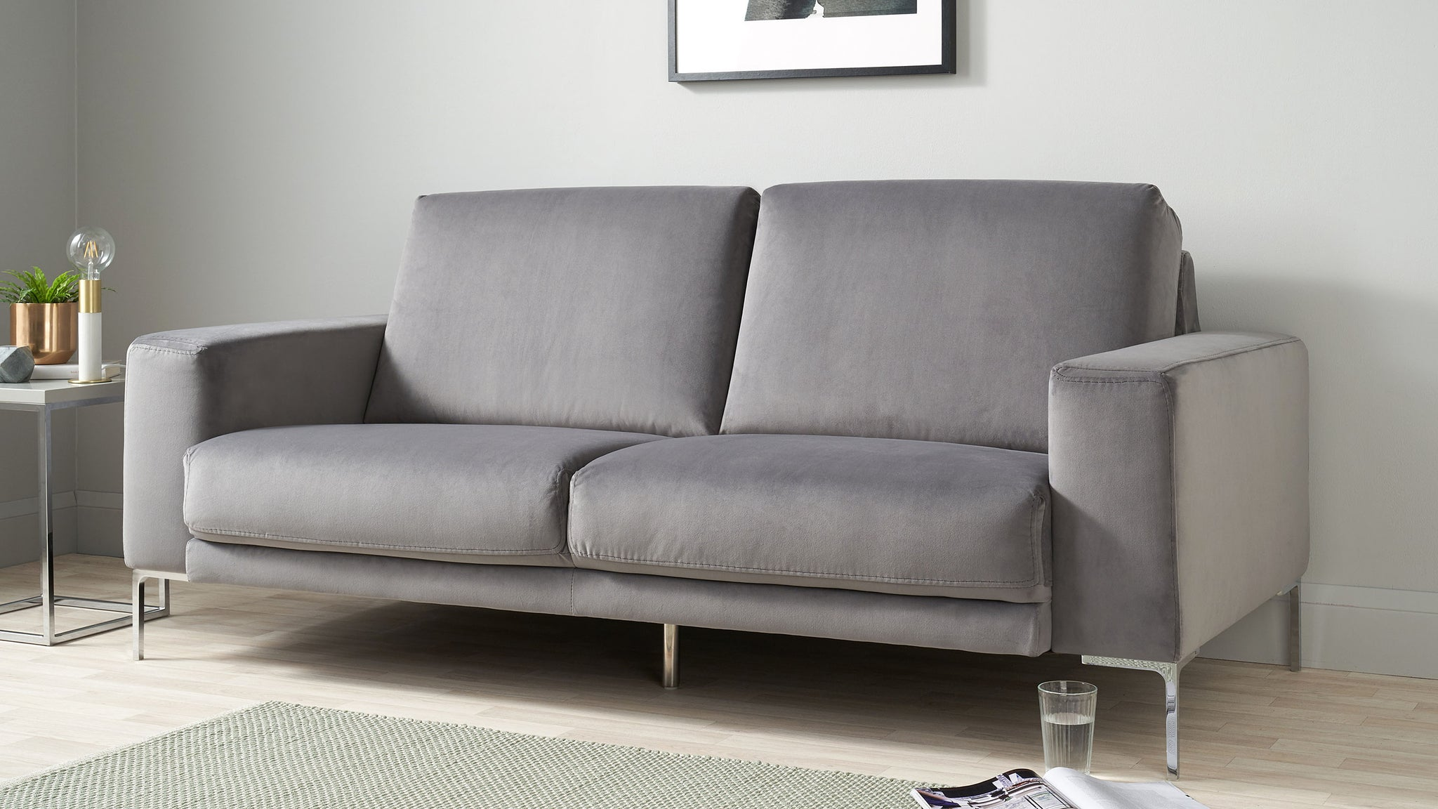 Studio Dark Grey Velvet With Chrome Leg 3 Seater Sofa