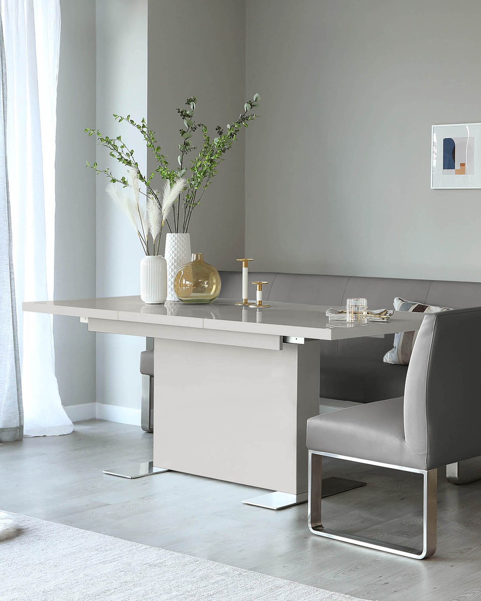 Sanza Grey Gloss Large Extending  Dining Table