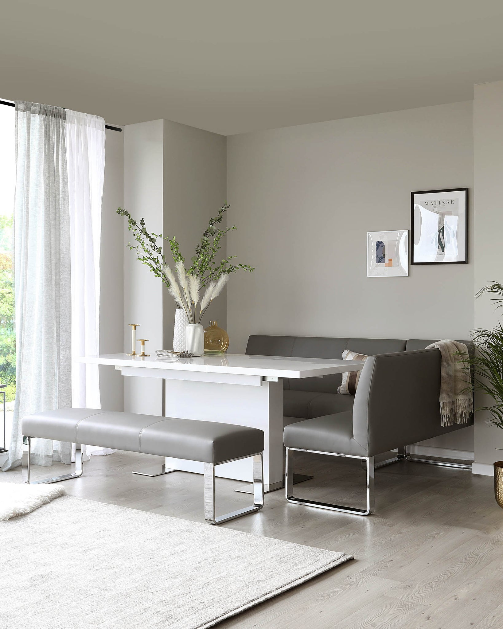 Loop 3 Seater Grey Faux Leather & Chrome Bench Without Backrest